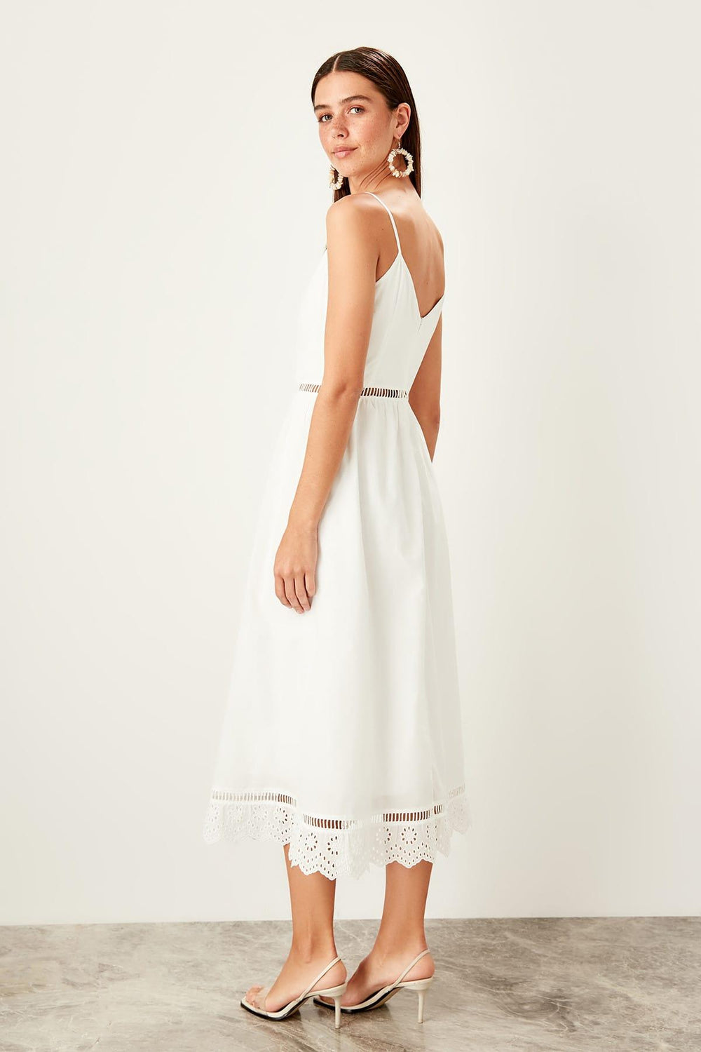 White Halter Midi Dress - Top Maxy