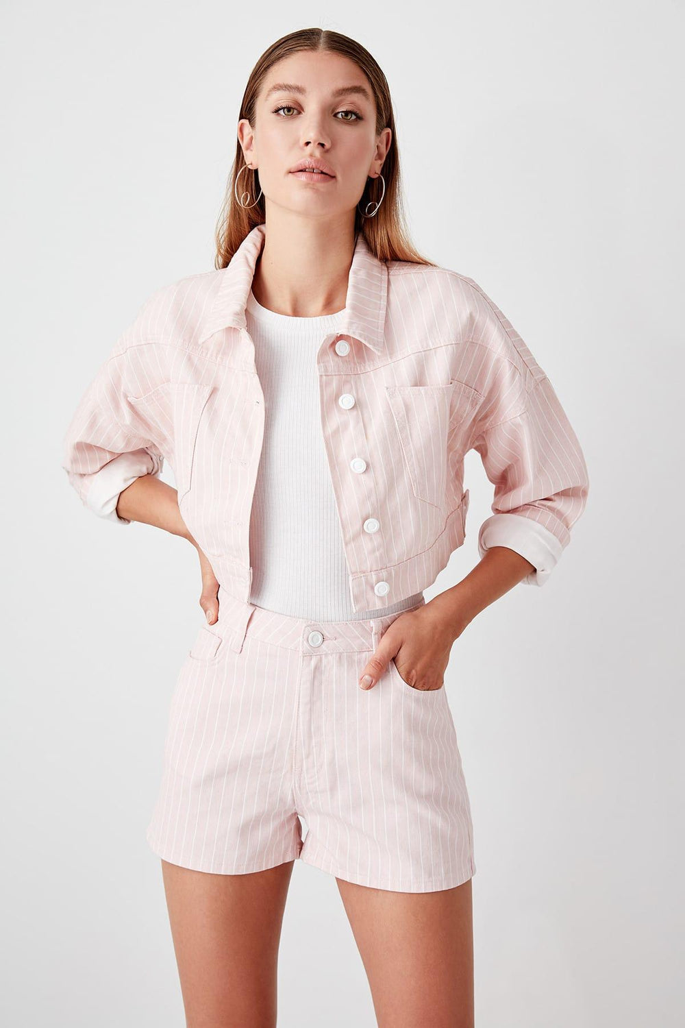 Pink Striped Denim Shorts - Top Maxy