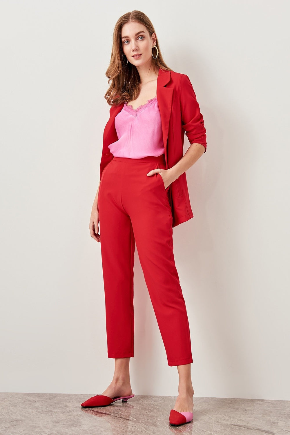 Red Carrots Cut Trousers Pants - Top Maxy