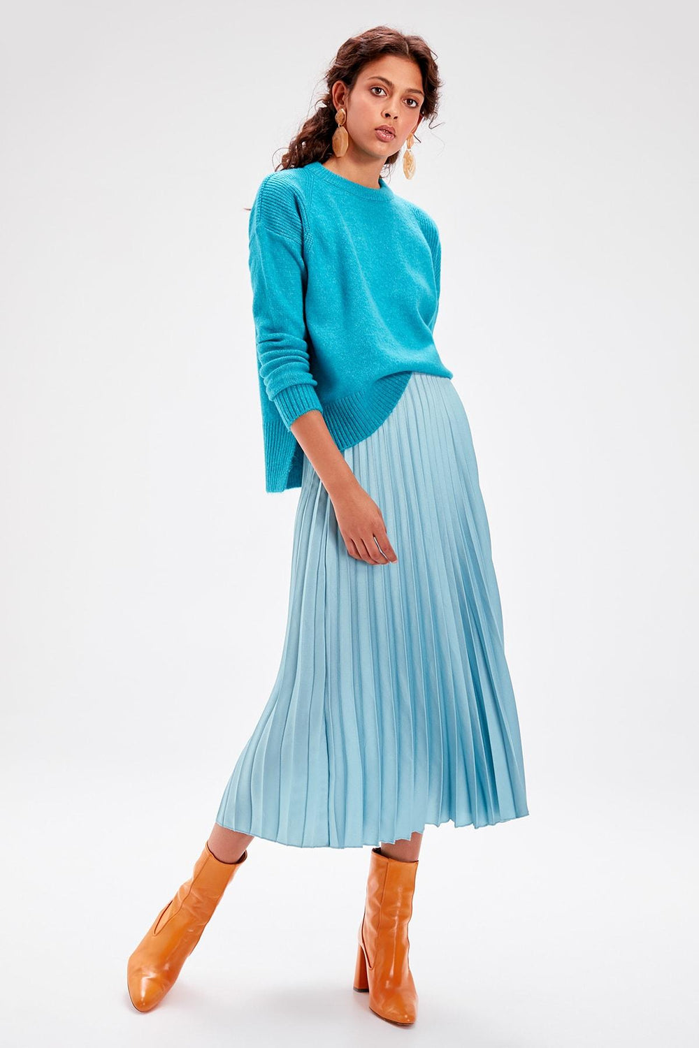 Turquoise Basic Sweater - Top Maxy