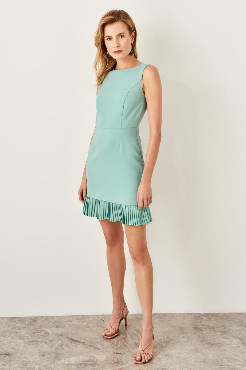 Mint Pilise Loose Detail Dress - Top Maxy