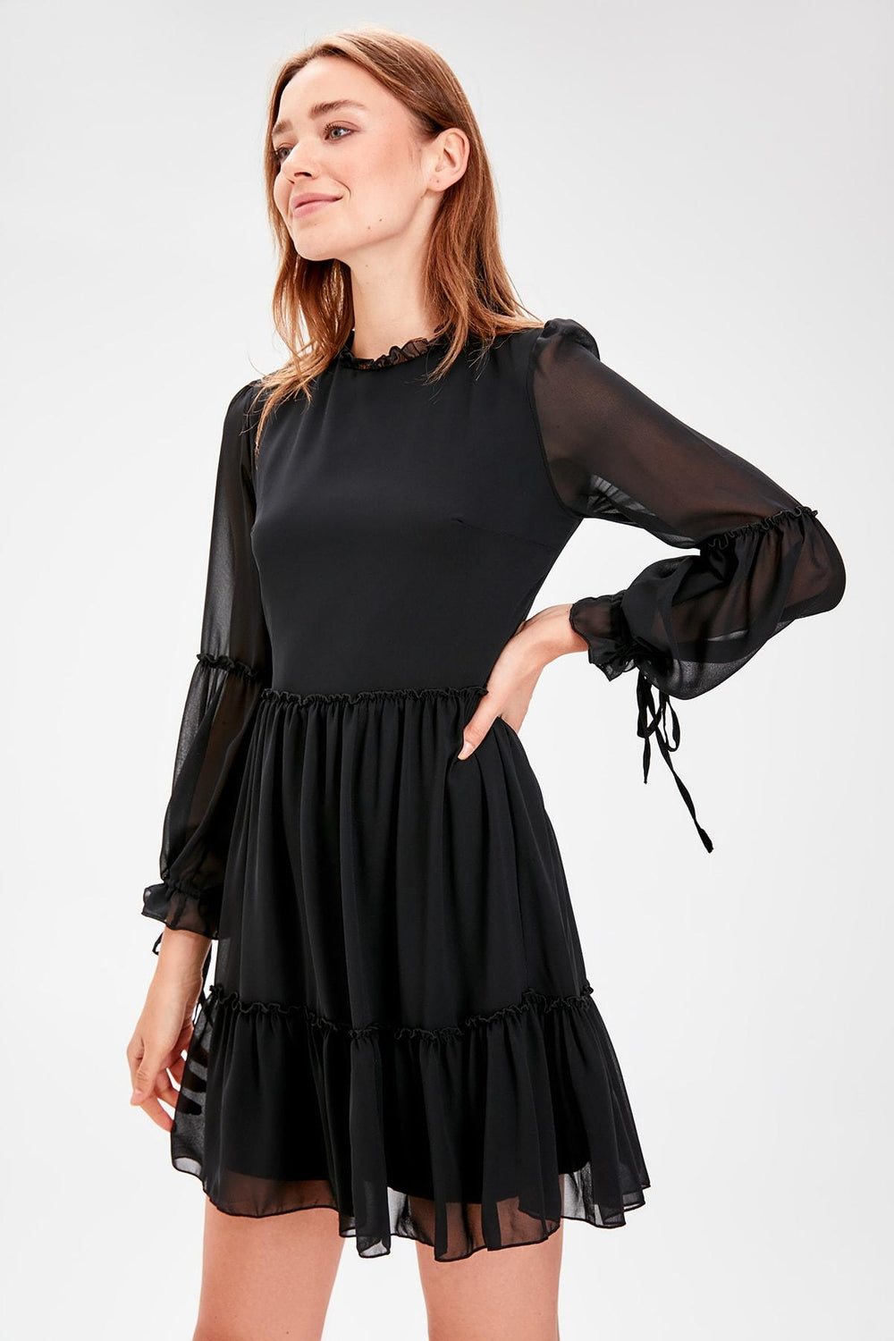 Black Shirred Dress - Top Maxy