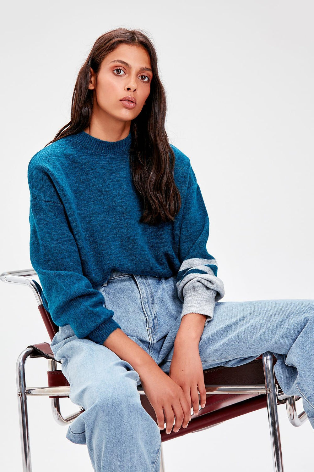 Petrol Sleeve Detail Sweater - Top Maxy