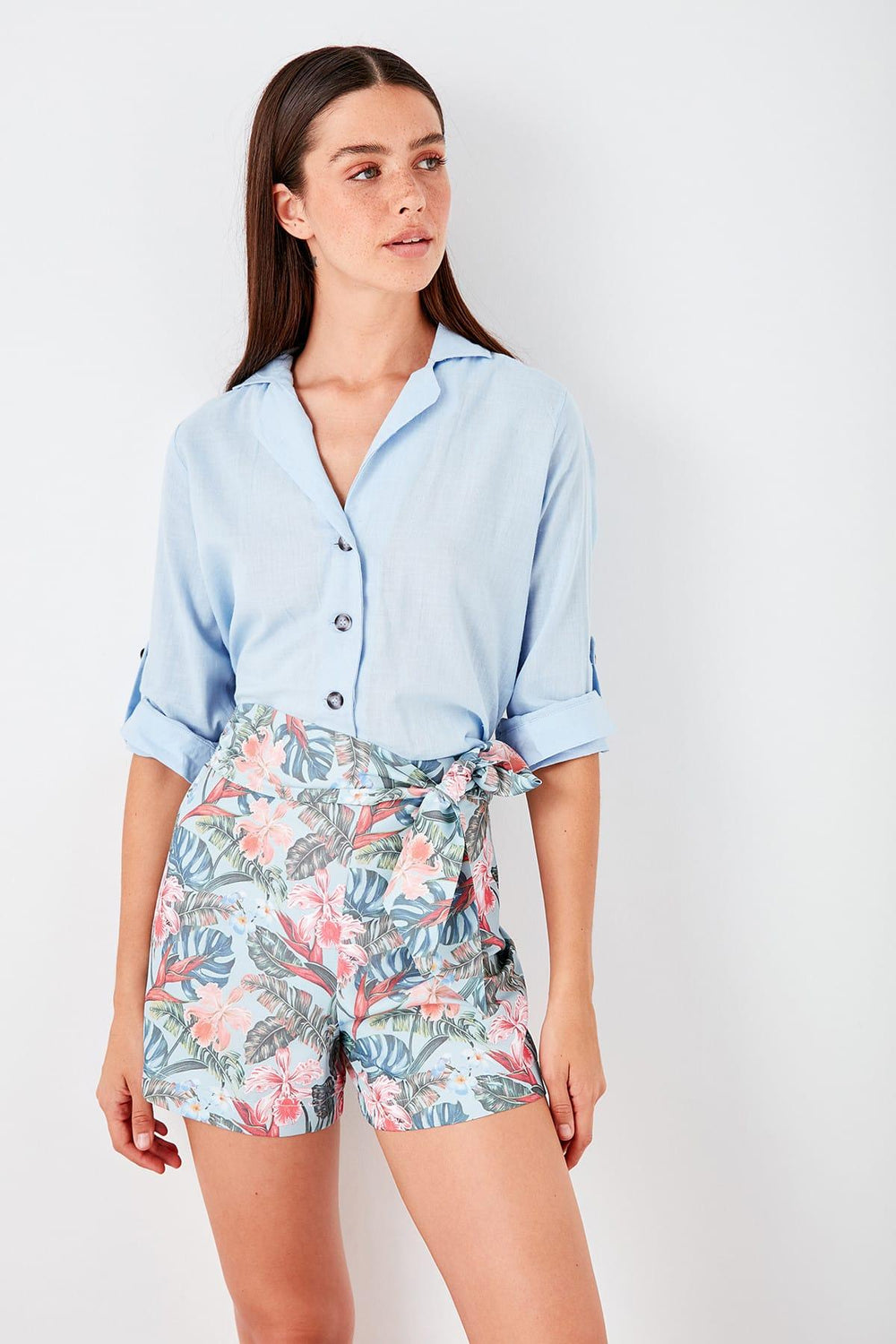 Blue Floral Pattern Shorts - Top Maxy