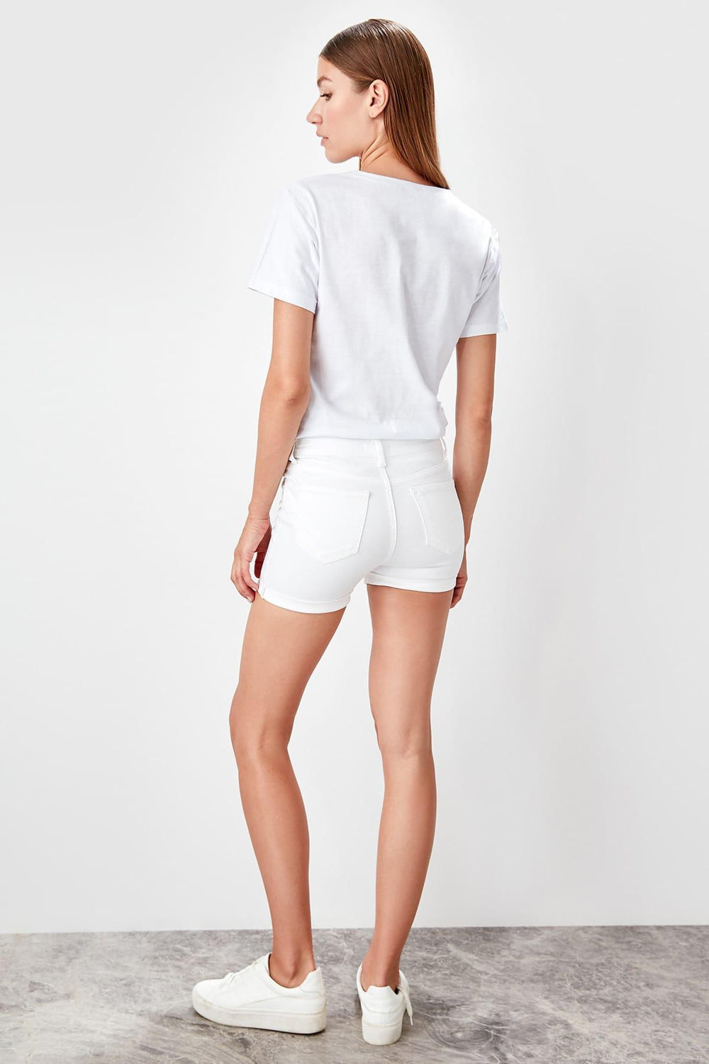 White Hight Waist Jegging Shorts - Top Maxy