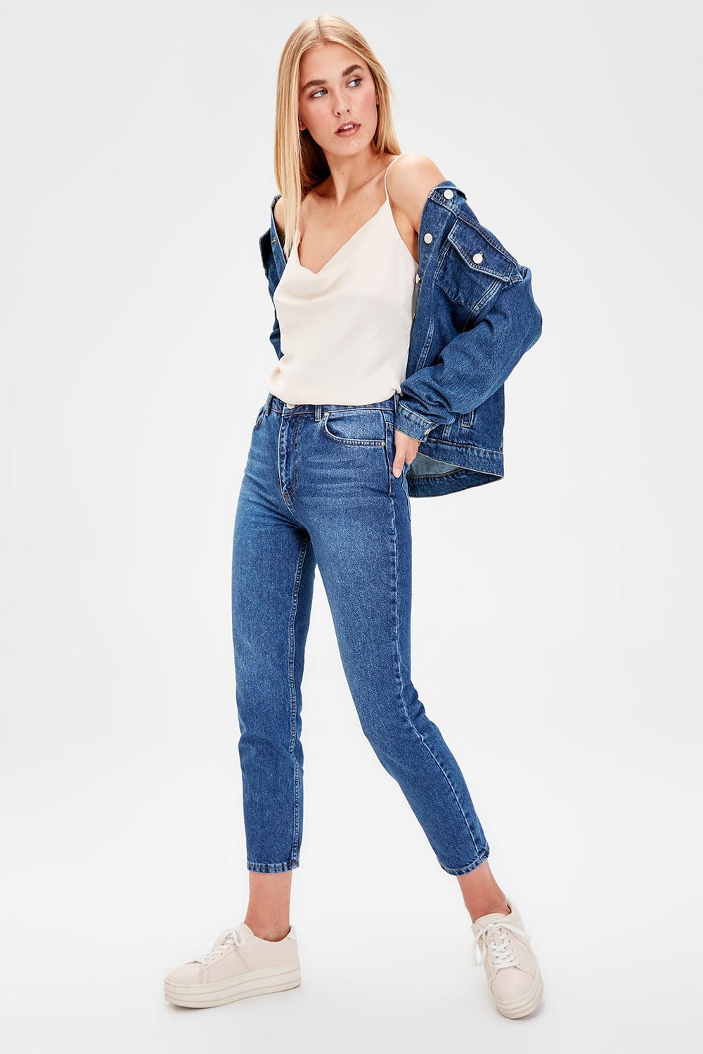 Navy Blue Normal Waist Mom Jeans - Top Maxy