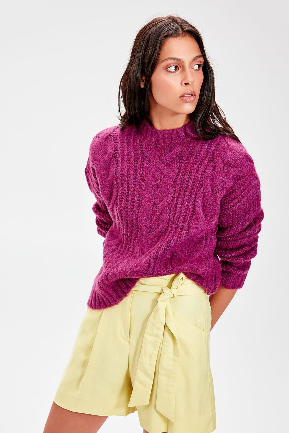 Purple Braided Knitwear Sweater - Top Maxy