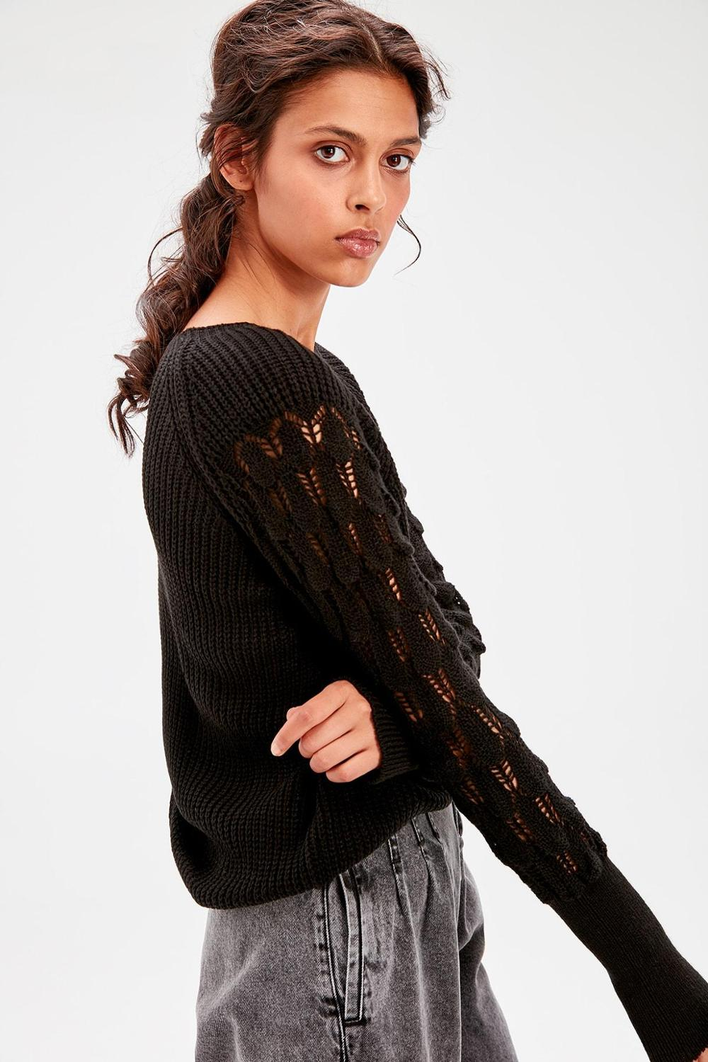 Stone Sleeve Detail Sweater - Top Maxy
