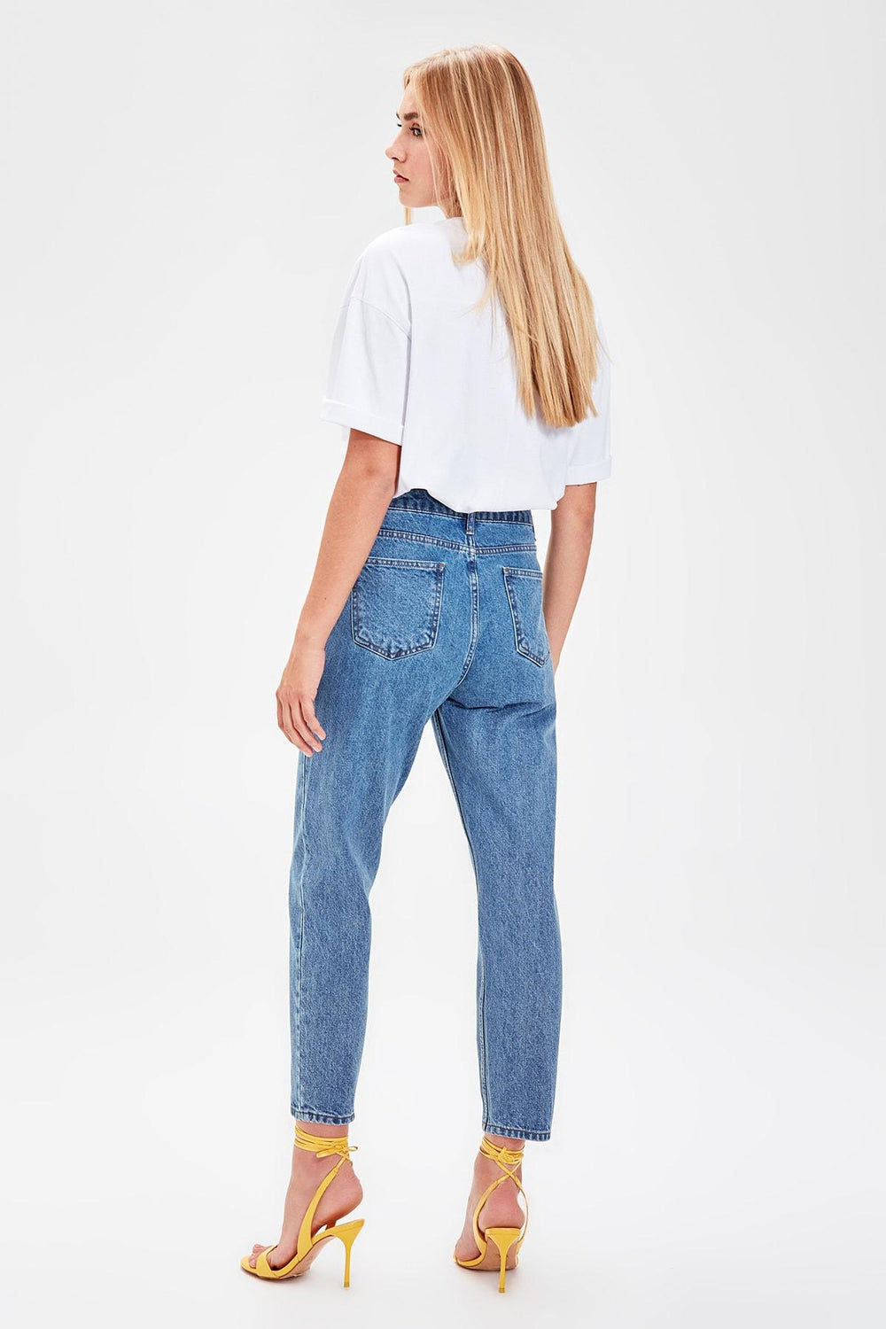 Blue High Waist Mom Jeans - Top Maxy