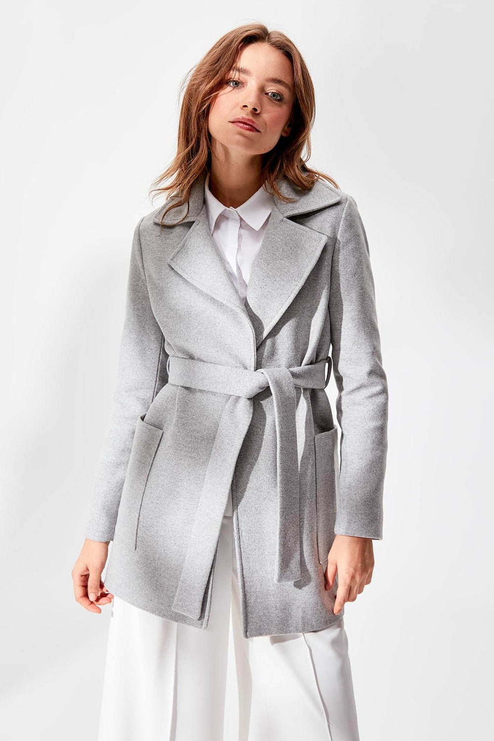 Gray Woolen Arched Stamp Coat - Top Maxy
