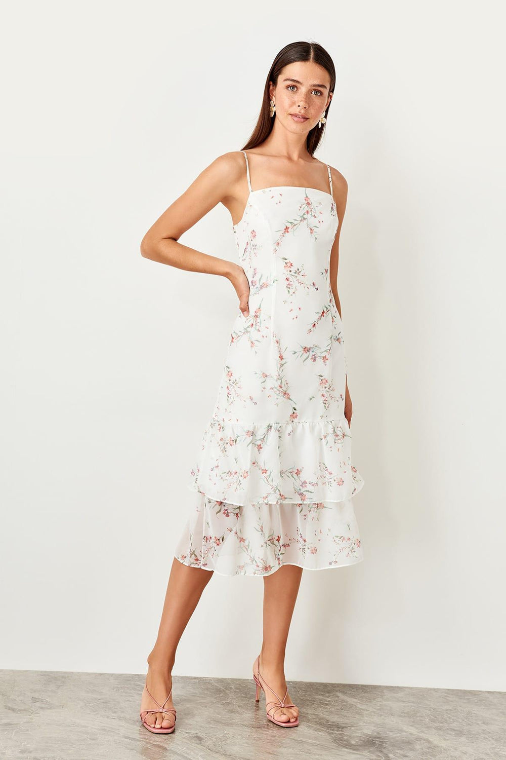 White Flower Print Midi Dress - Top Maxy