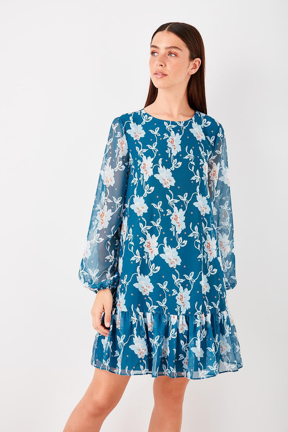 Petrol Flounces Floral Dress - Top Maxy