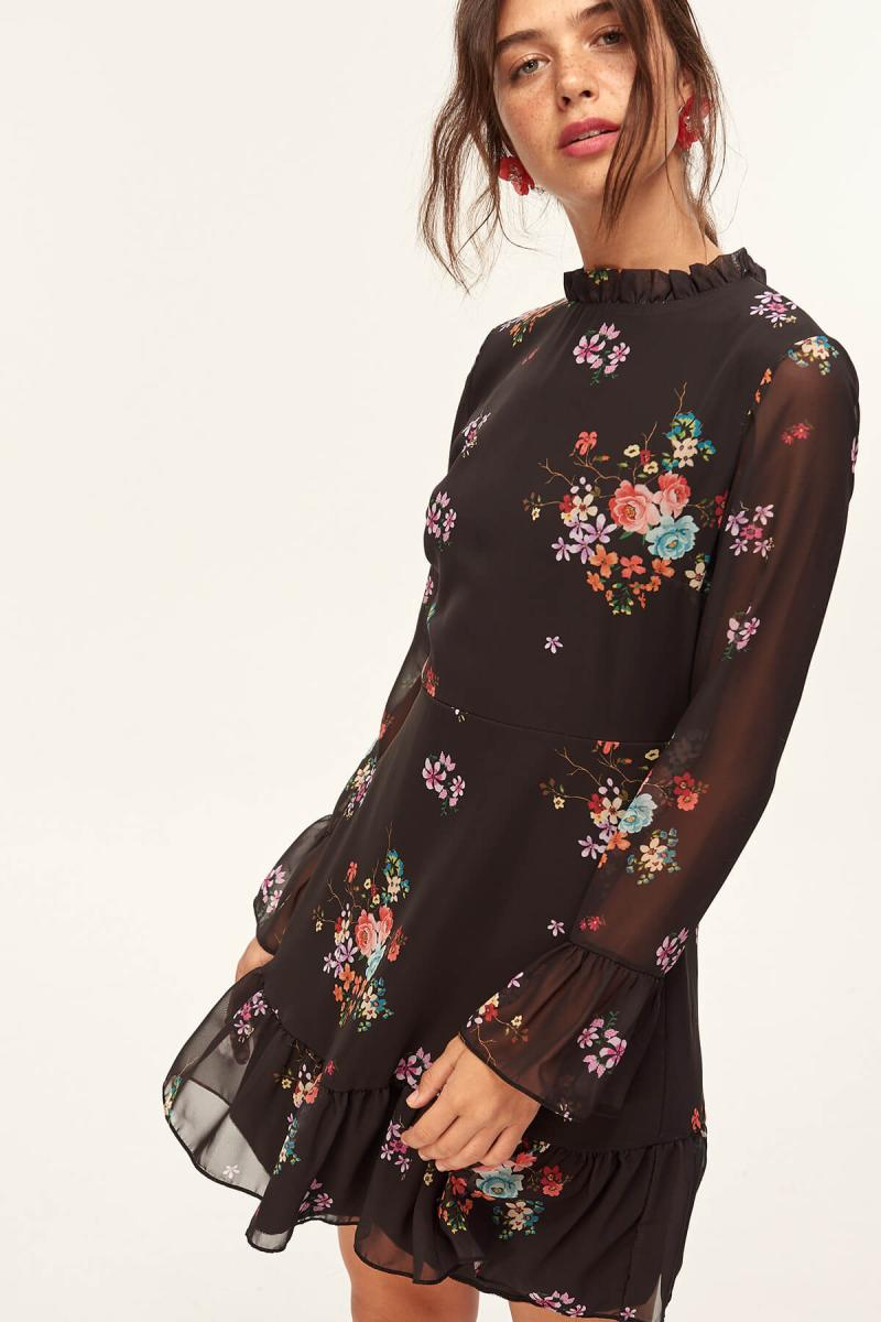 Black Flower Print Dress - Top Maxy