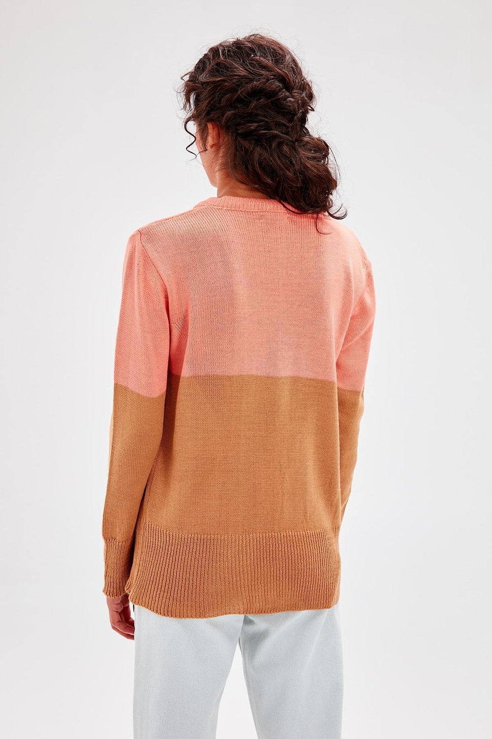 Orange Colorblock Sweater - Top Maxy