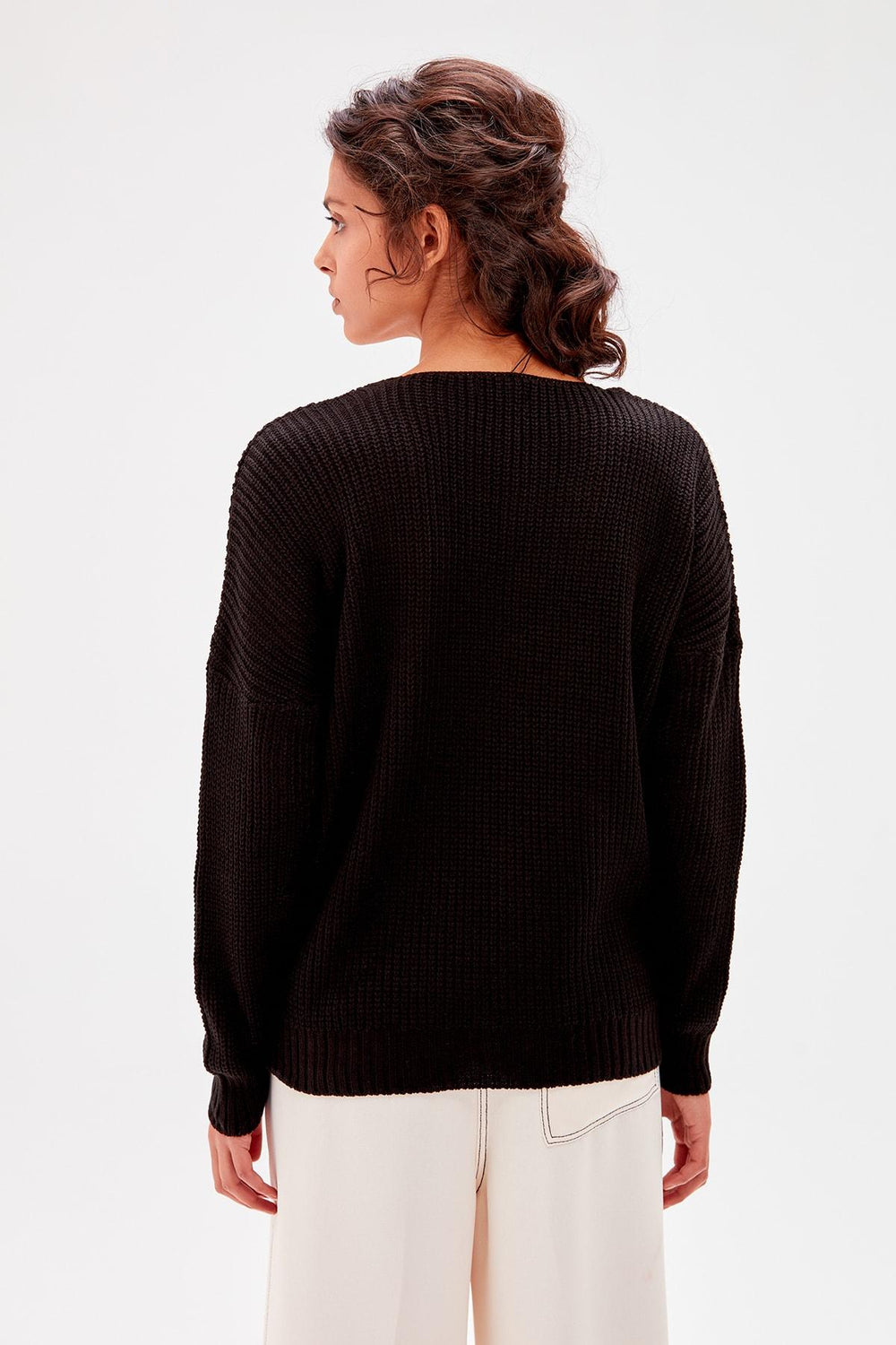 Black With Color Block Sweater - Top Maxy