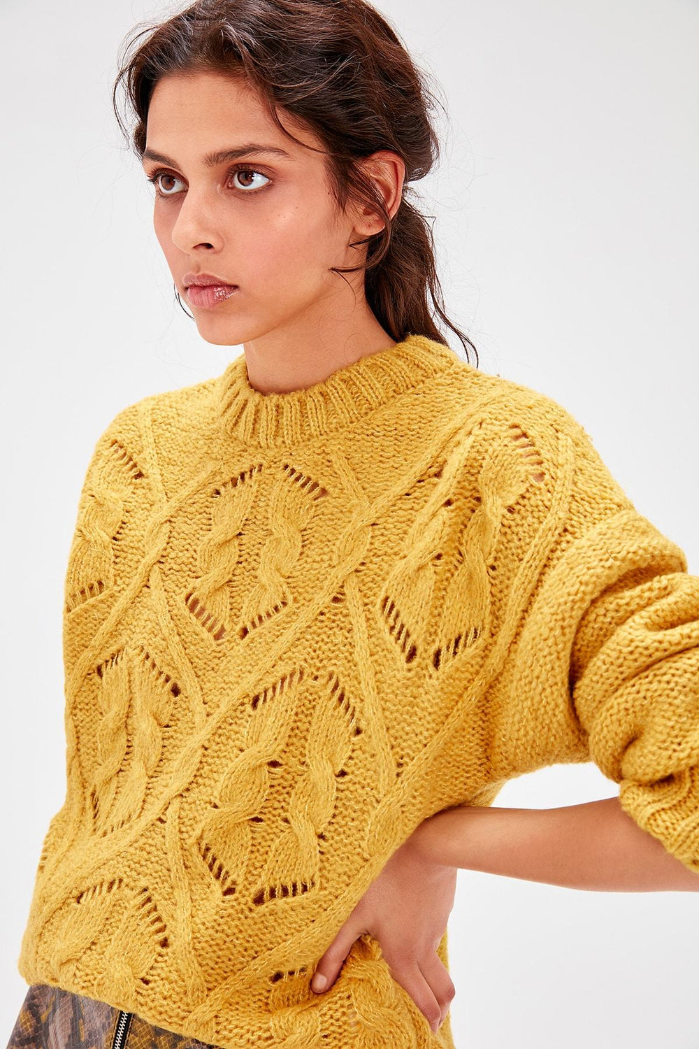 Yellow Hair Braided Knitwear Sweater - Top Maxy