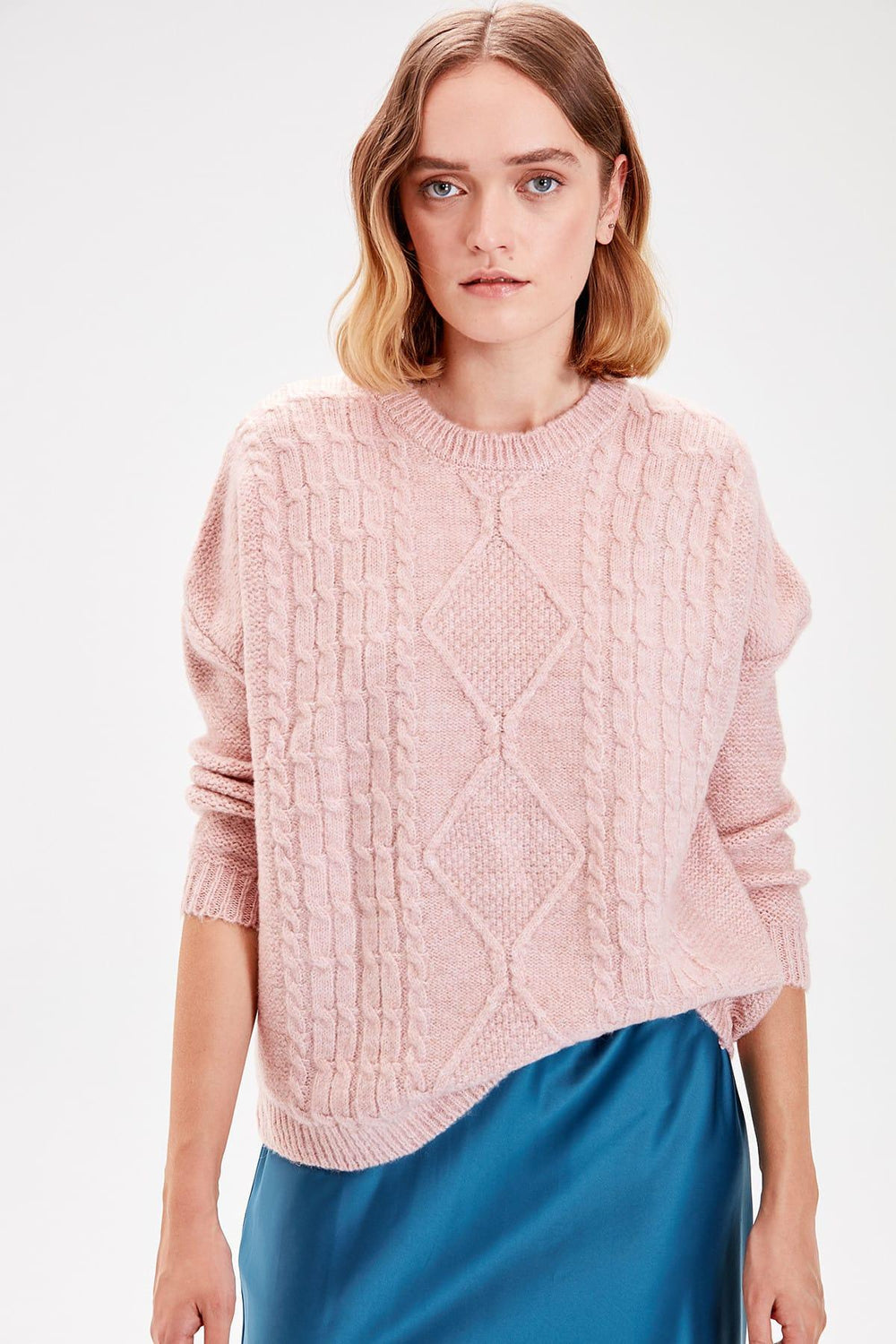 Powder Braided Knitwear Sweater - Top Maxy