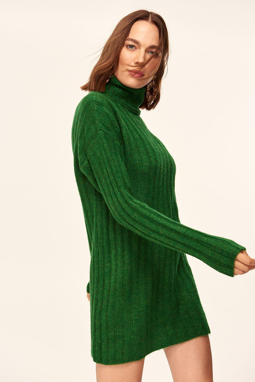 WOMEN-Green Turtleneck Sweater - Top Maxy