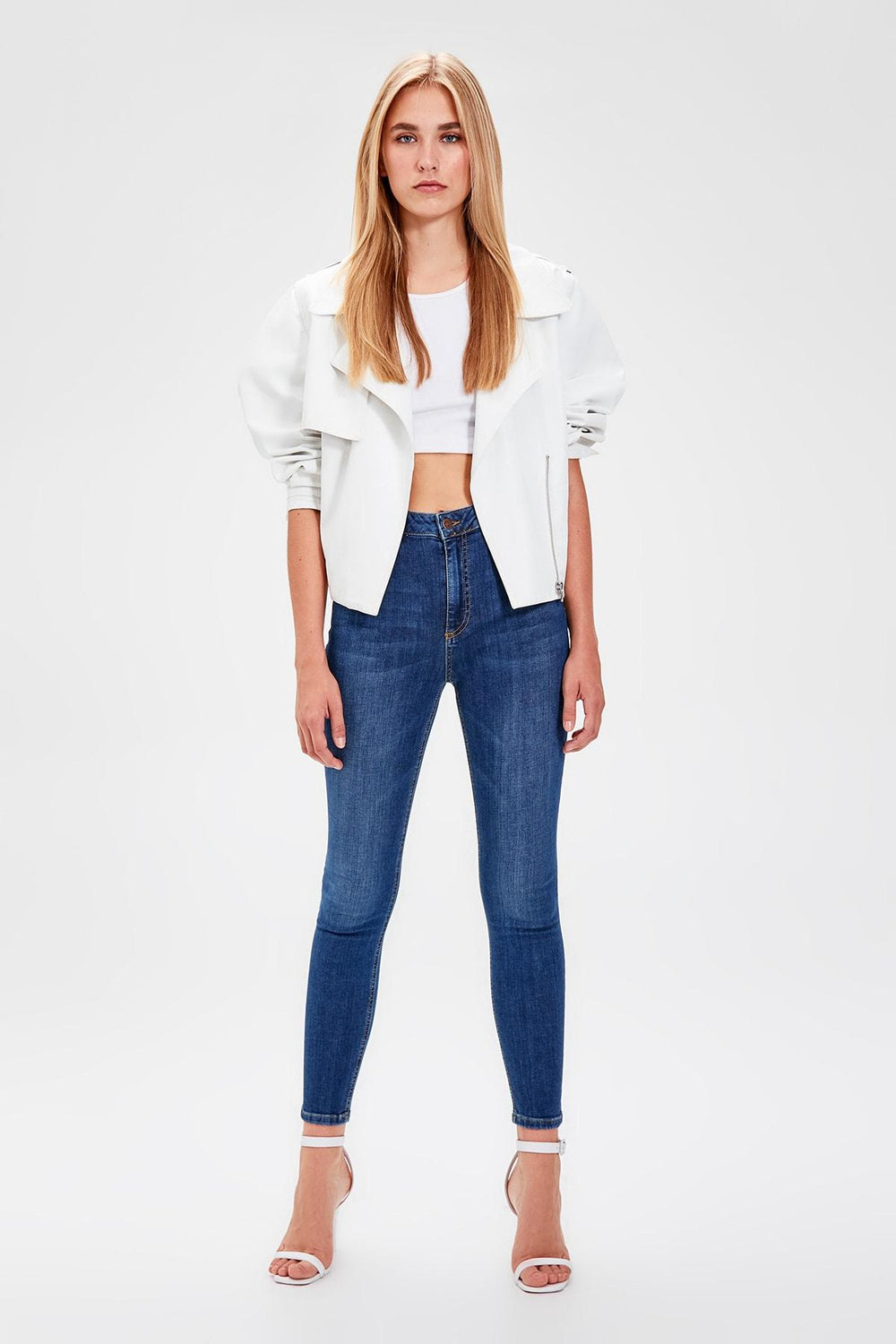 Blue High Waist Skinny Jeans - Top Maxy