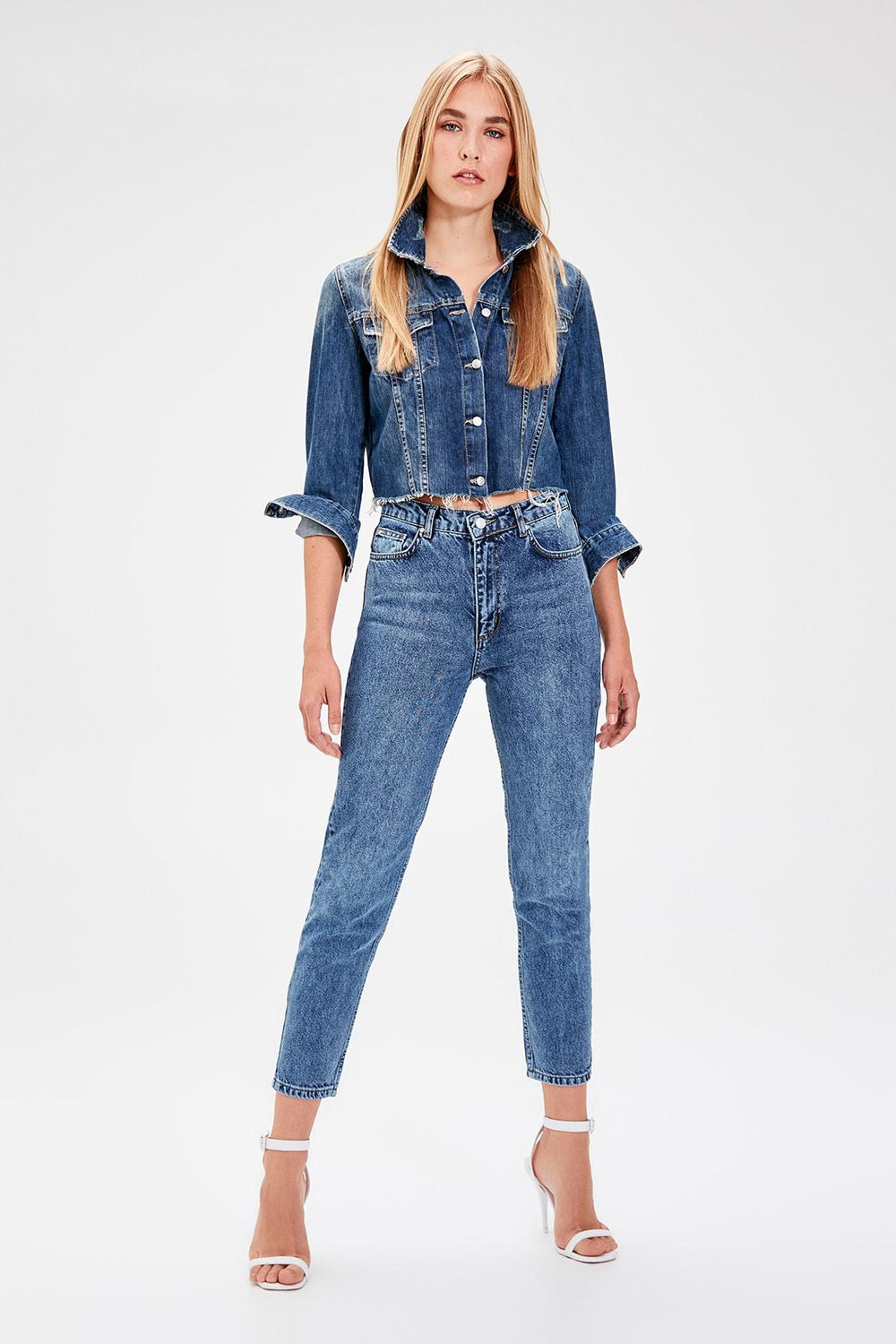 Blue Normal Waist Mom Jeans - Top Maxy