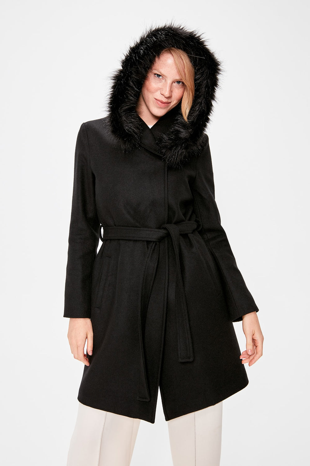 Black Fur Hooded Arched Woolen Stamp Coat - Top Maxy