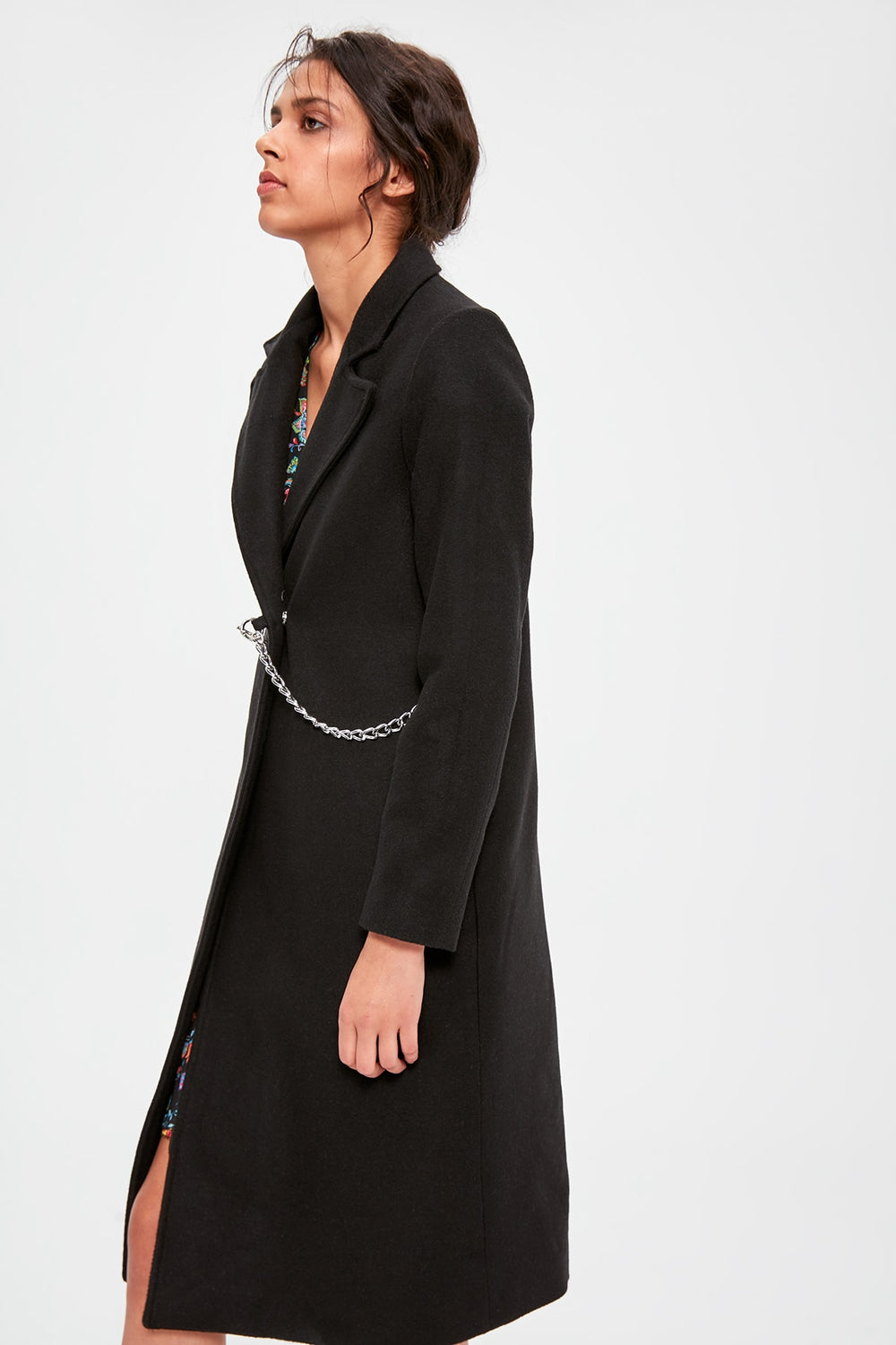 Black Chain Detail Stamp Coat - Top Maxy