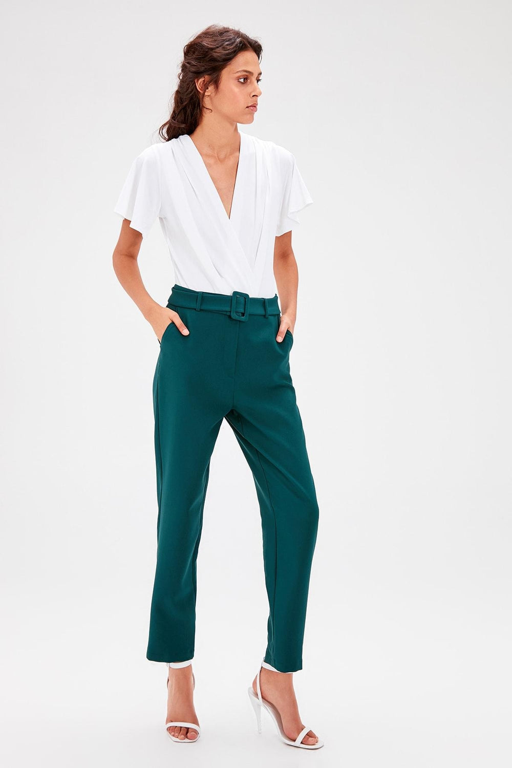 Emerald green Belt Detail Pants - Top Maxy