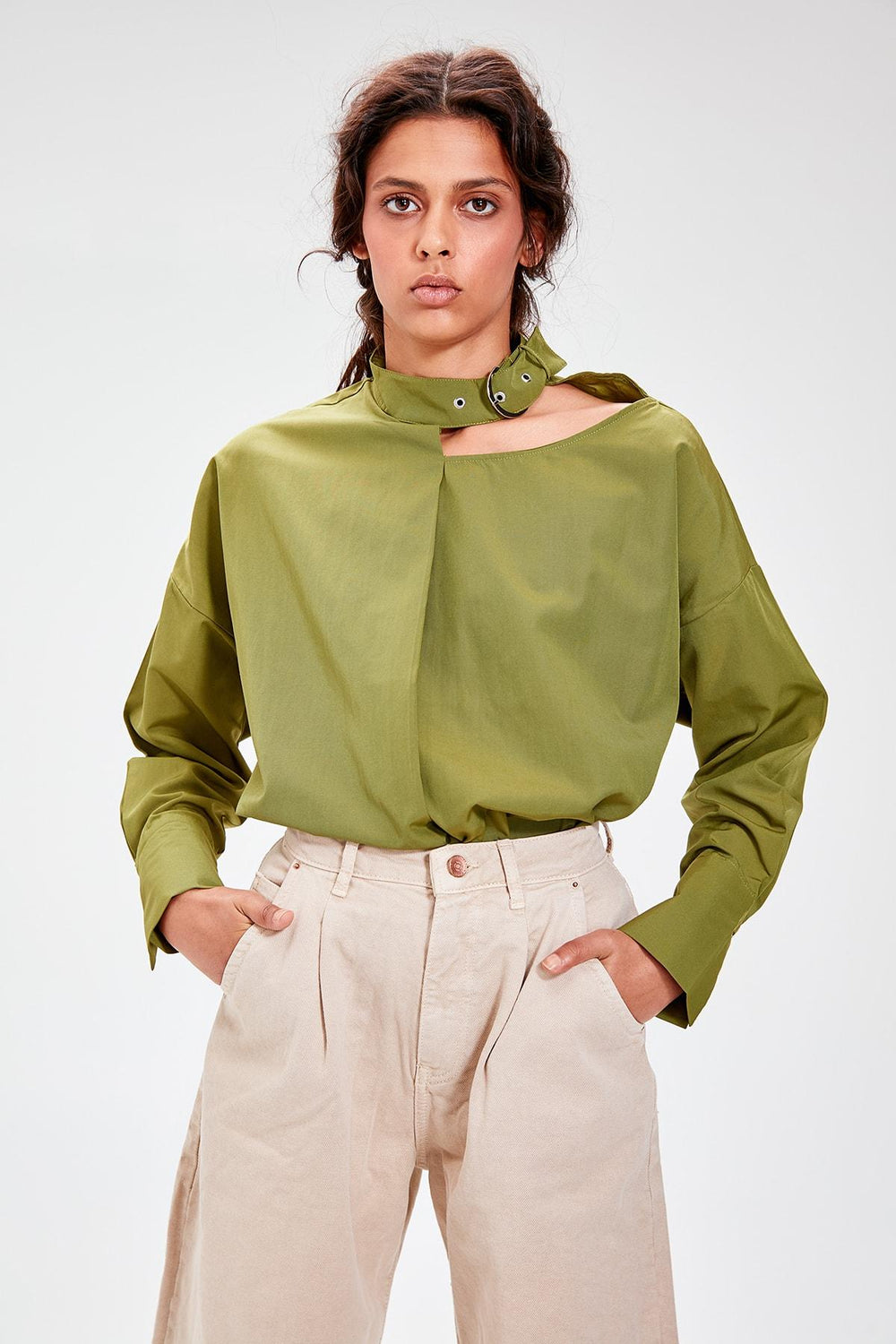 Khaki Collar Detailed Shirt - Top Maxy