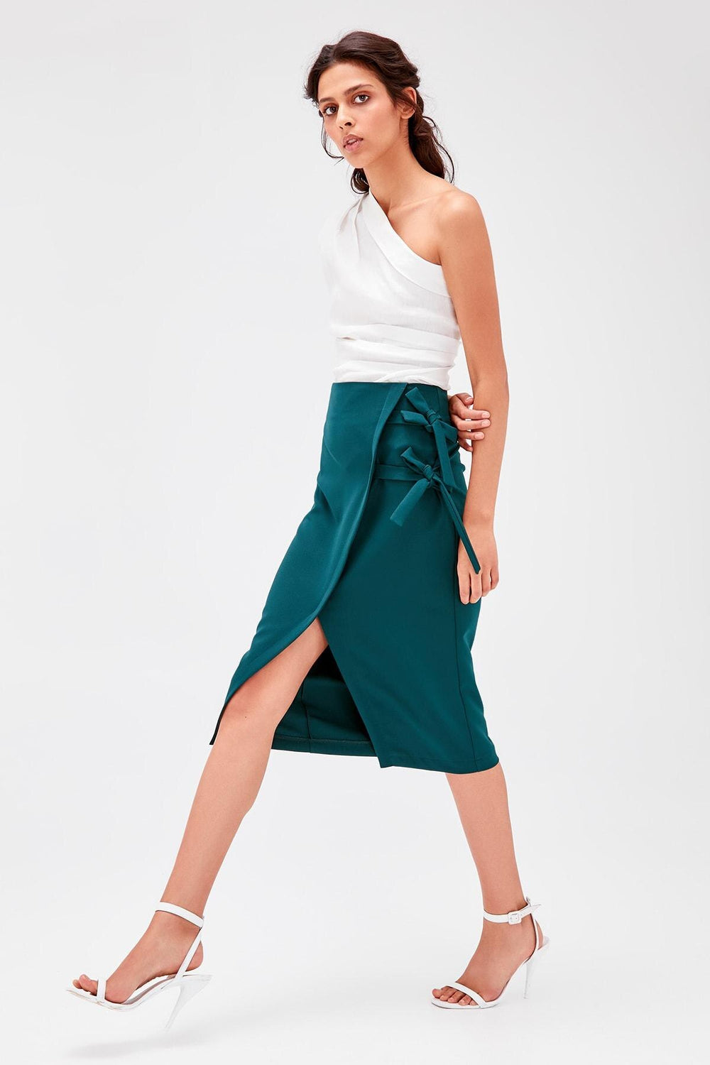 Emerald green Lacing Detailed Skirt - Top Maxy