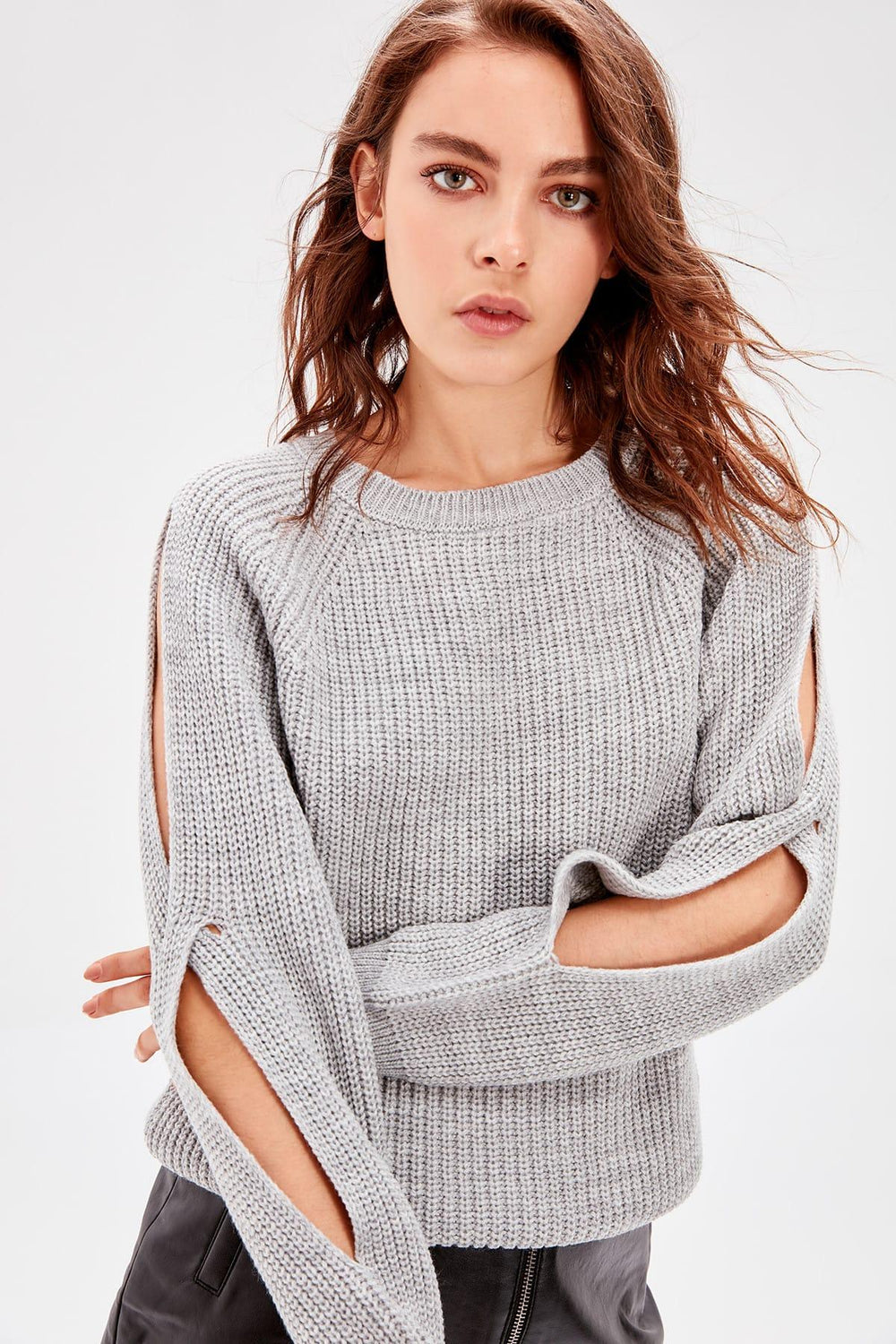 Gray Sleeve Detail Sweater - Top Maxy
