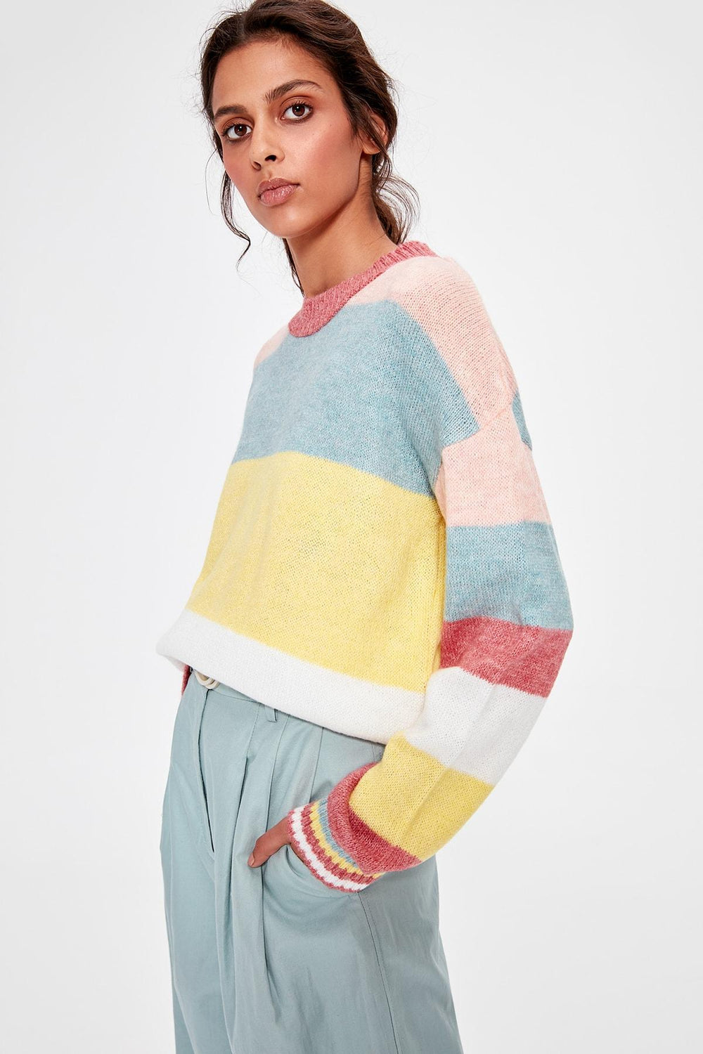 Pink Color Block Sweater Pullover - Top Maxy