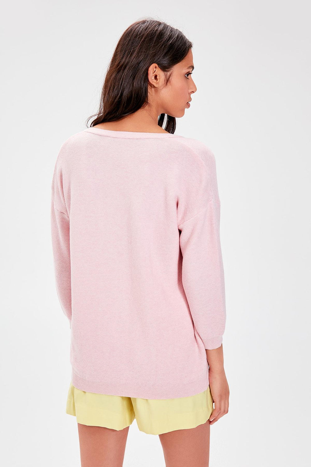 Pink V-Neck Knitwear Sweater - Top Maxy