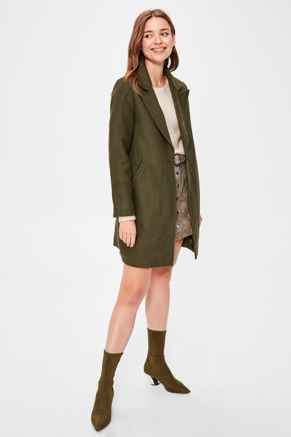 Khaki Woolen Stamp Coat - Top Maxy