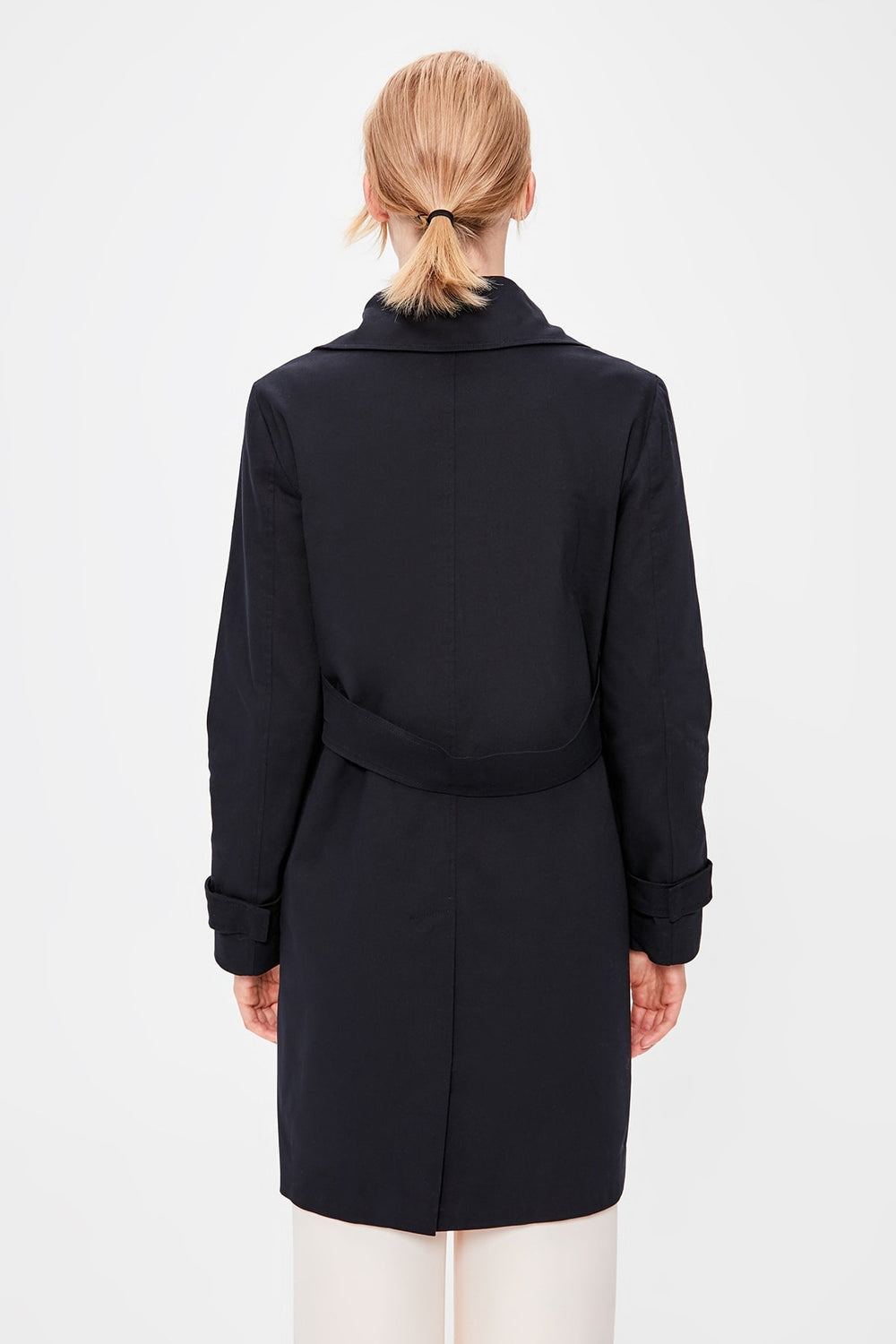 Navy Blue Bone Button Trench Coat - Top Maxy