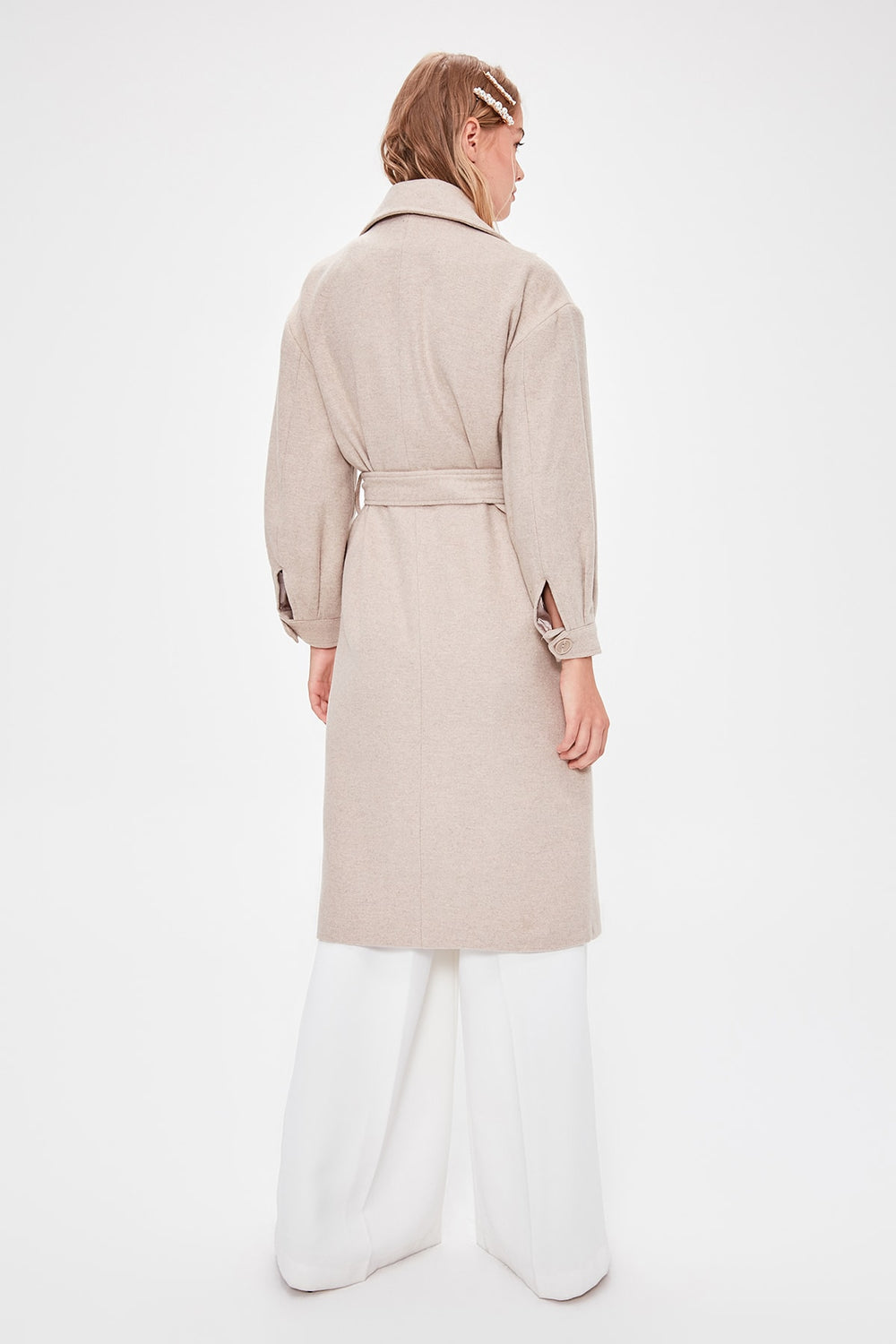 Stone Ring Buckled Belt Detailed Long Stamp Coat - Top Maxy