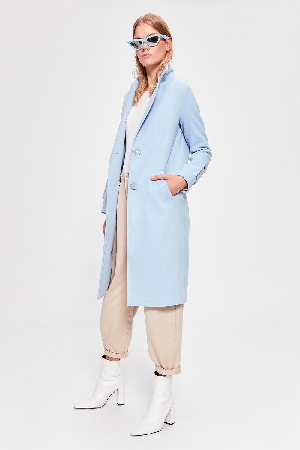 Blue Front Button Long Stamp Coat - Top Maxy