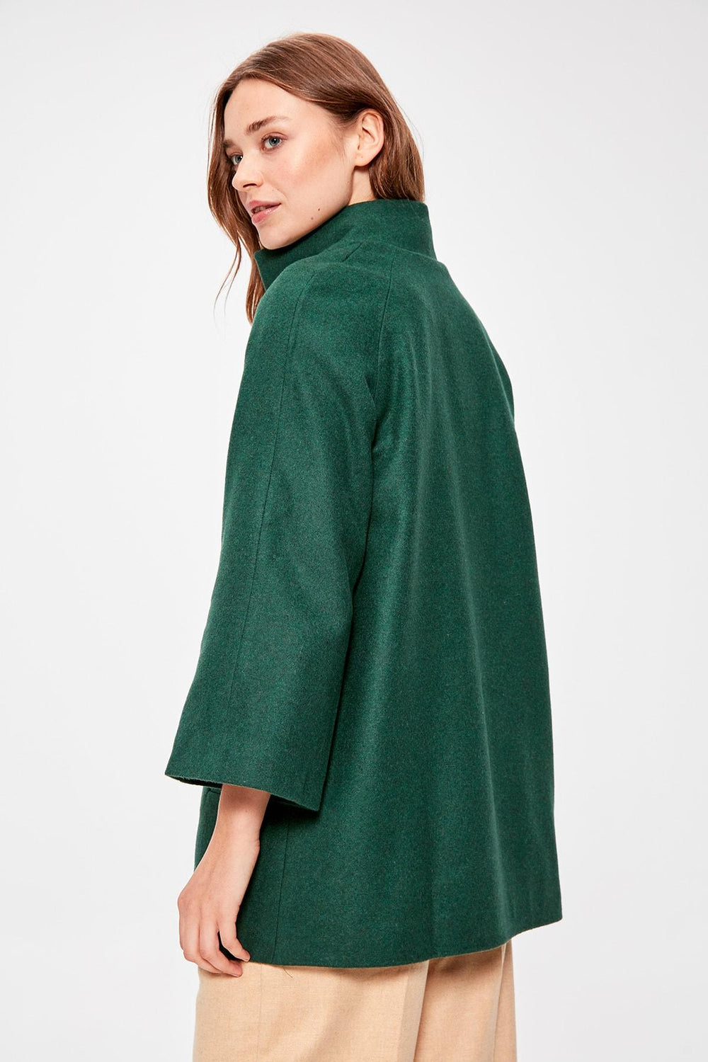 Emerald green Stamp Coat - Top Maxy