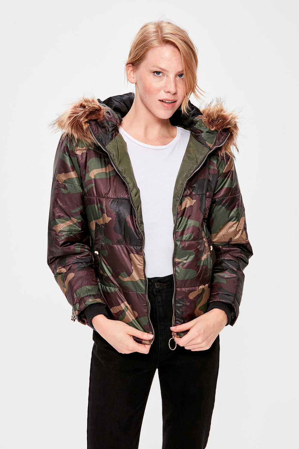 Multicolour Hooded Inflatable Coat - Top Maxy