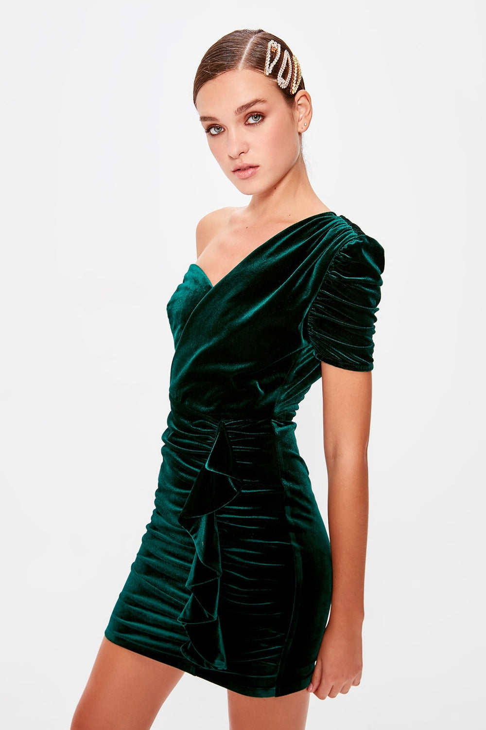 Emerald Green Drape Detail Single Sleeve Dress - Top Maxy