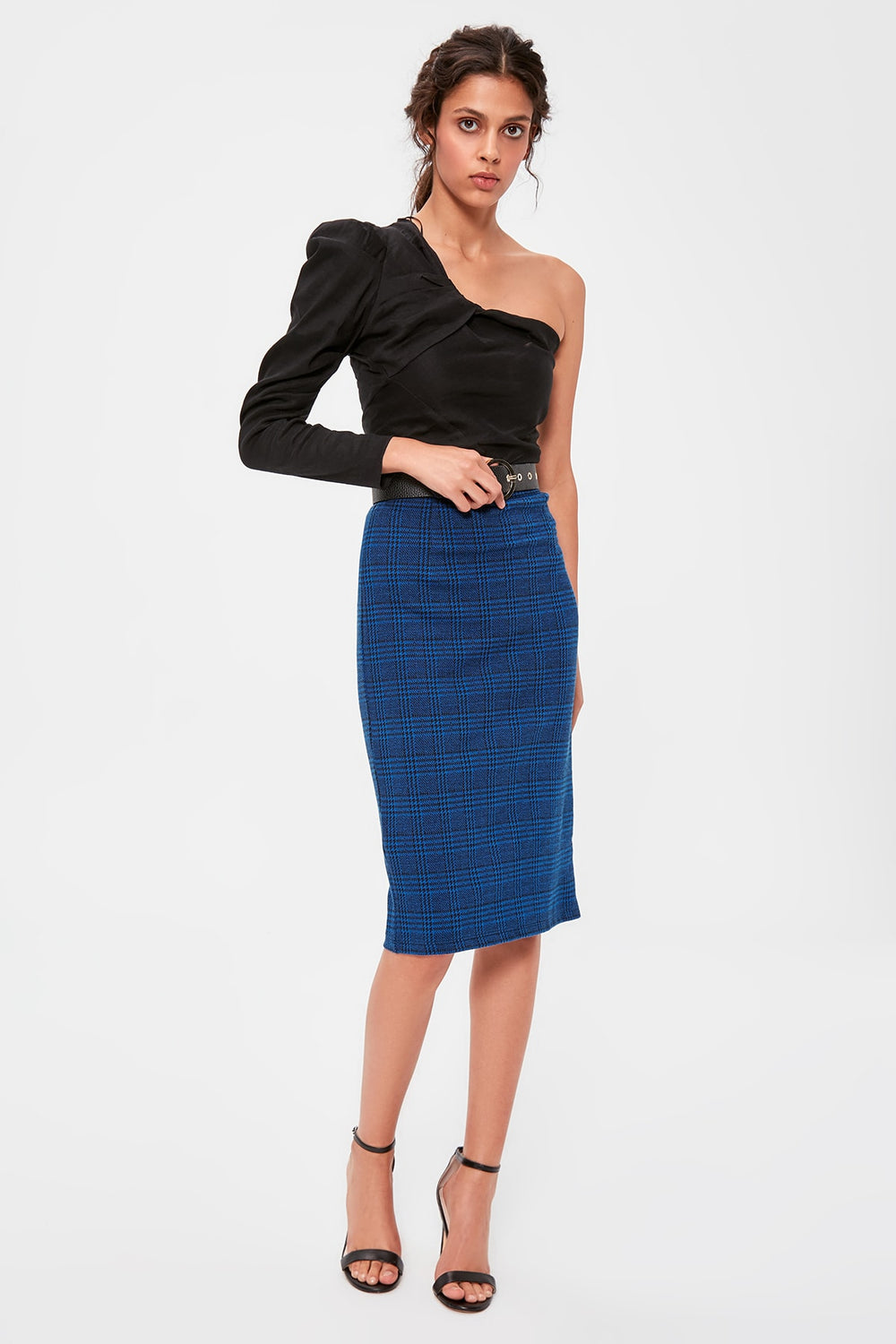 Navy Plaid Knitted Skirt - Top Maxy