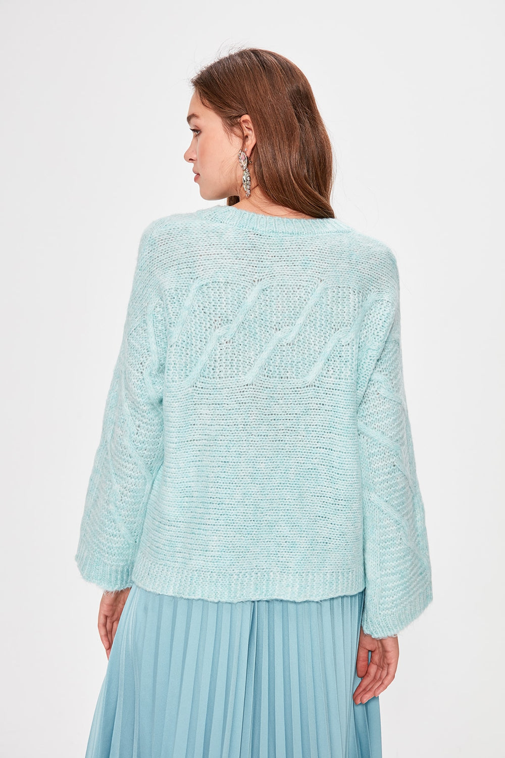 Mint Mesh Detailed Knitwear Sweater - Top Maxy