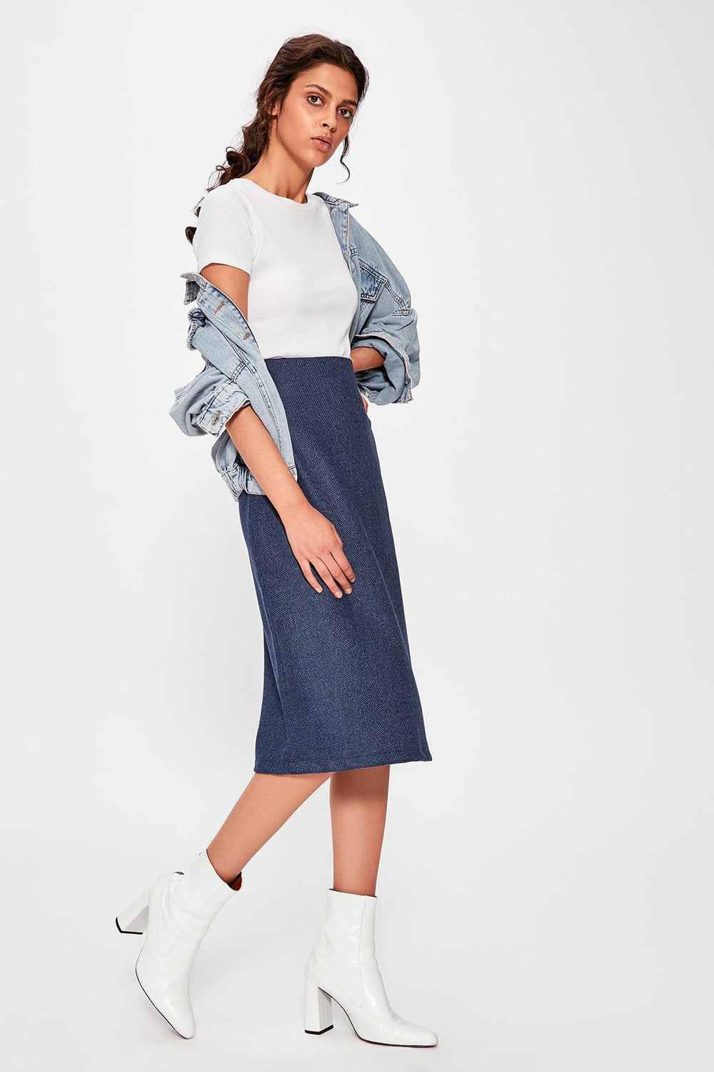 Blue Midi Skirt - Top Maxy