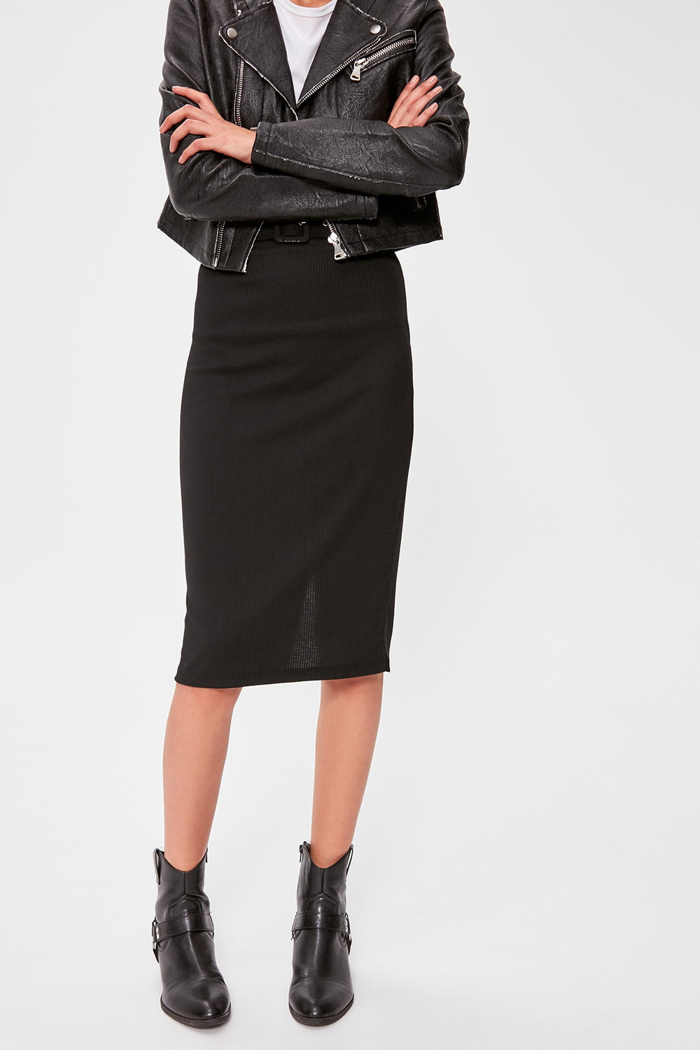 Black Belt Detail Ribbed Knit Skirt - Top Maxy