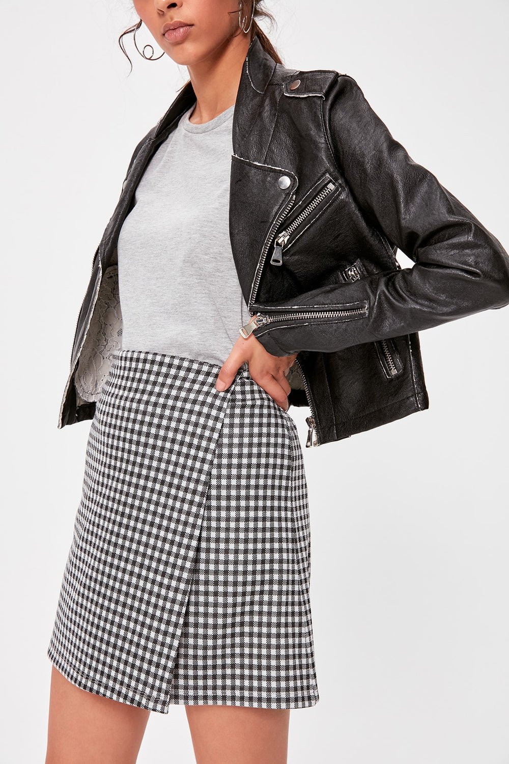 Black Gingham Knitted Skirt - Top Maxy