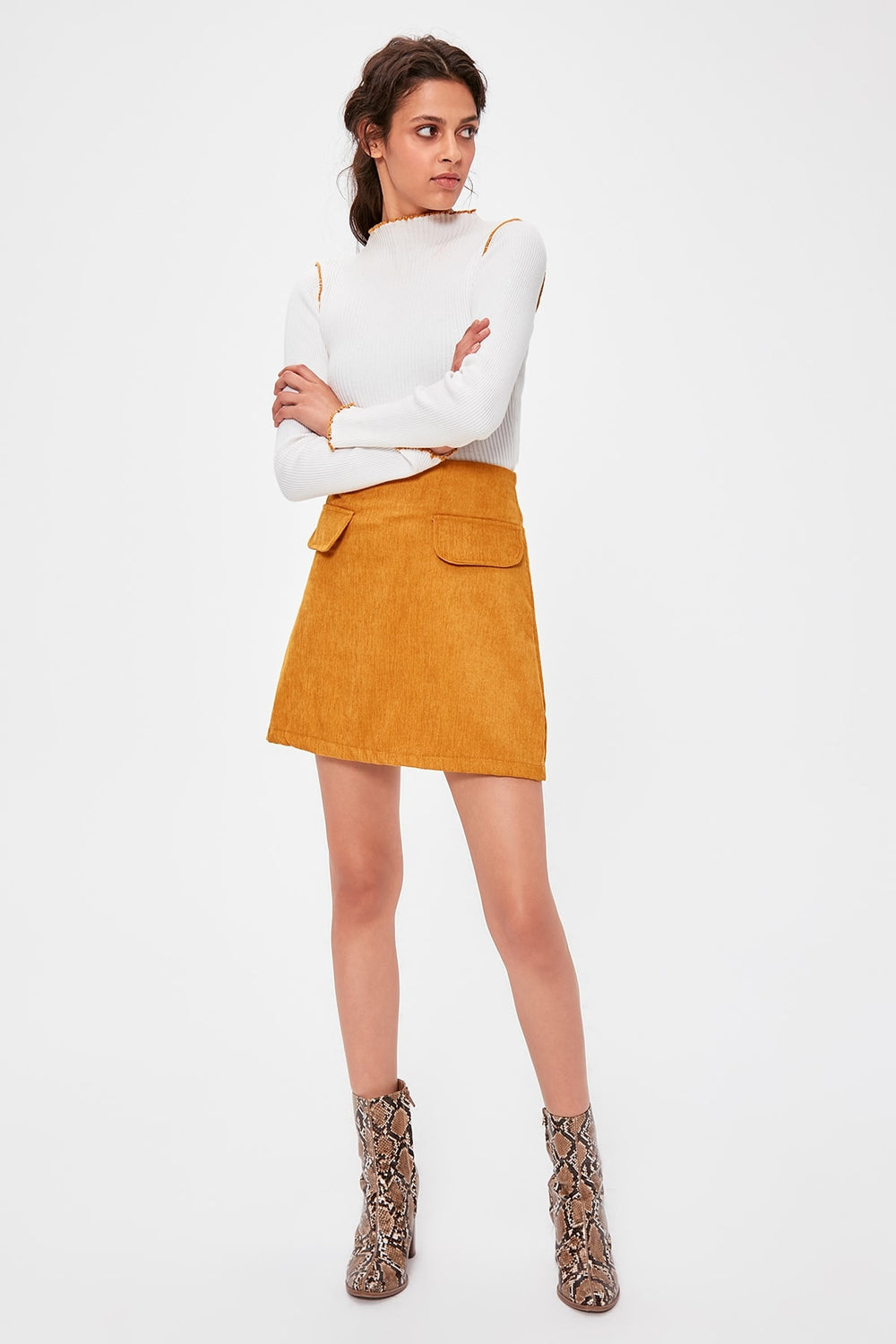 Mustard Pocket Detail Skirt - Top Maxy
