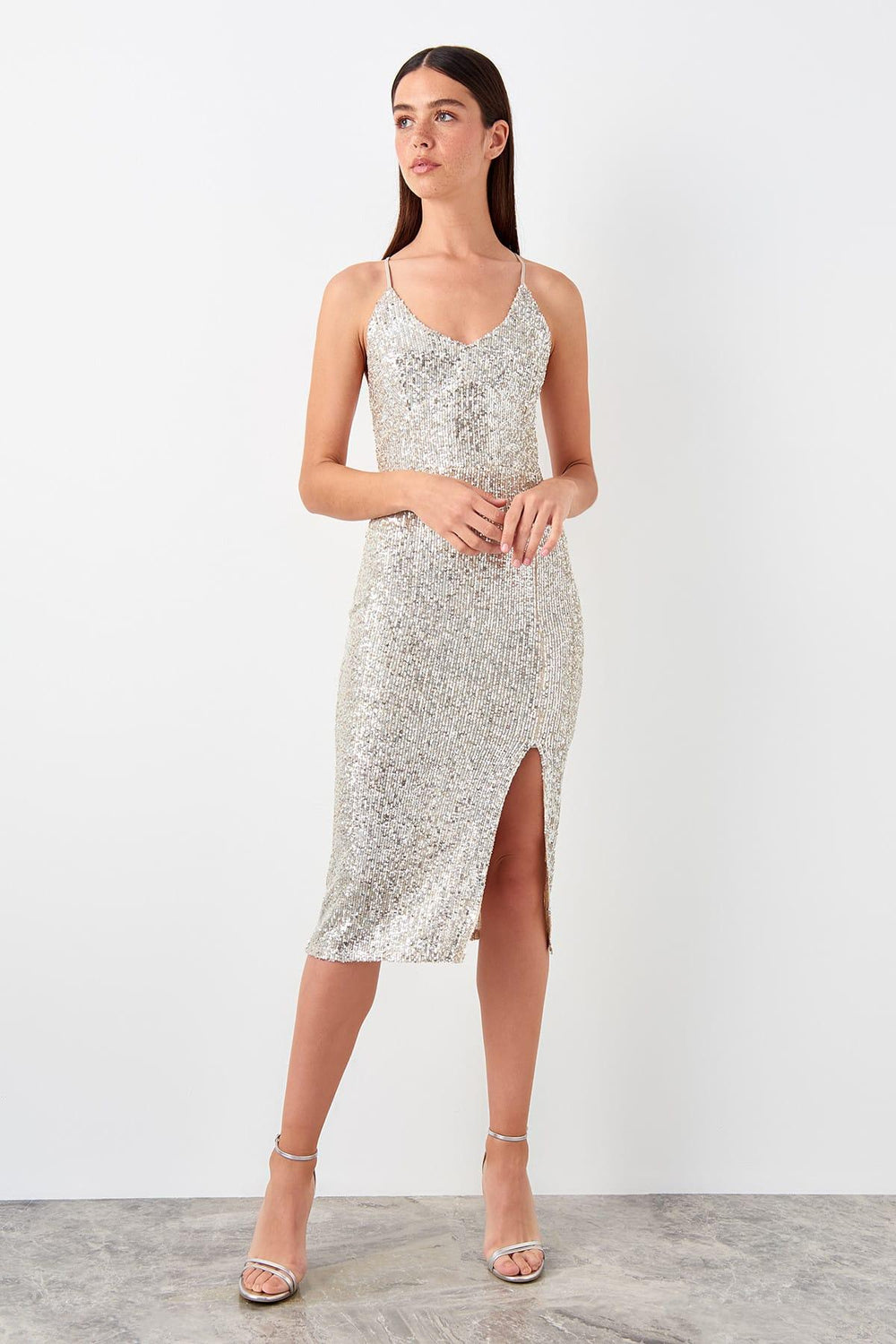 Silver Ridge Detailed Sequin Dress - Top Maxy