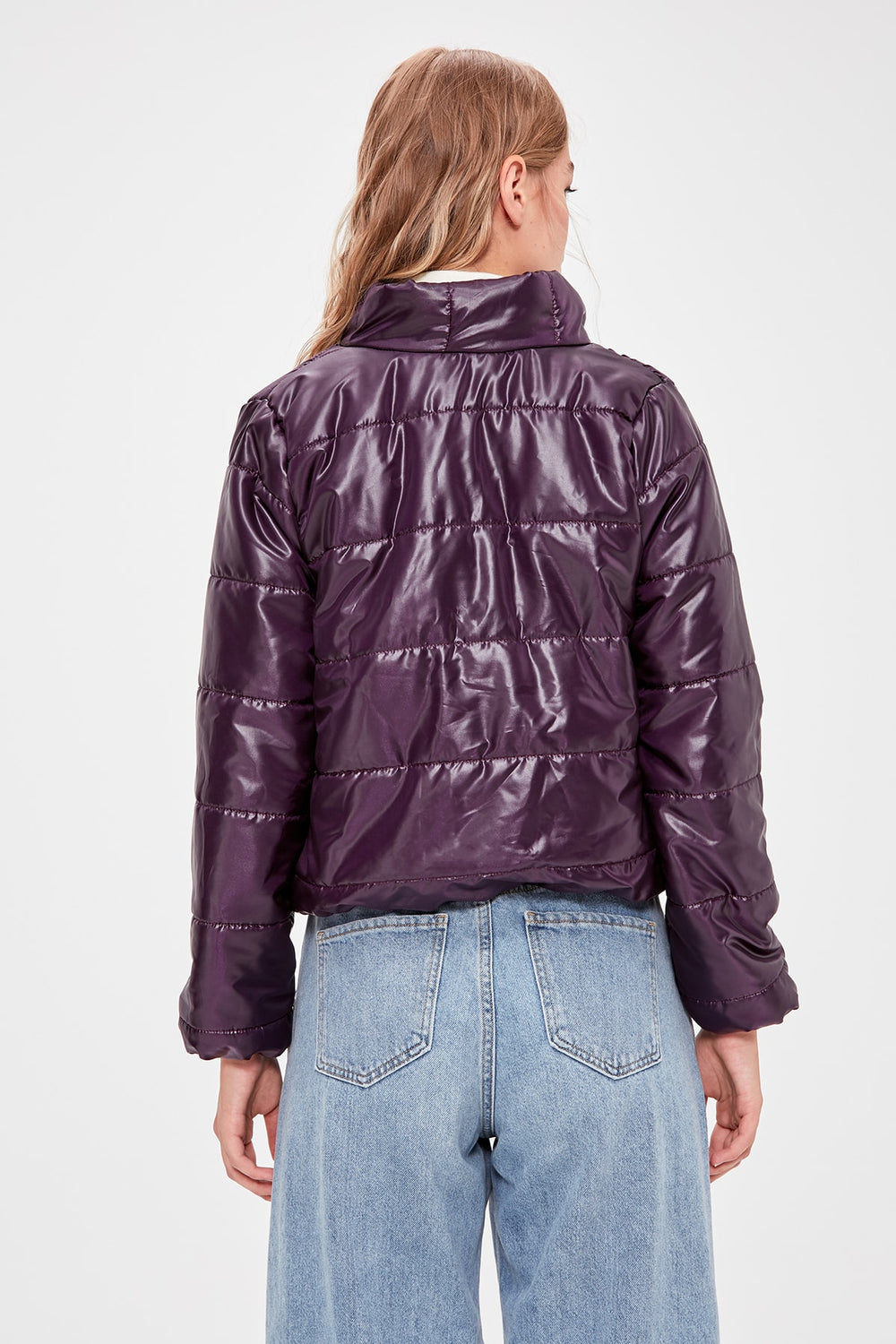 Damson Zipper It Should Cover Upright Collar Inflatable Crop coats - Top Maxy