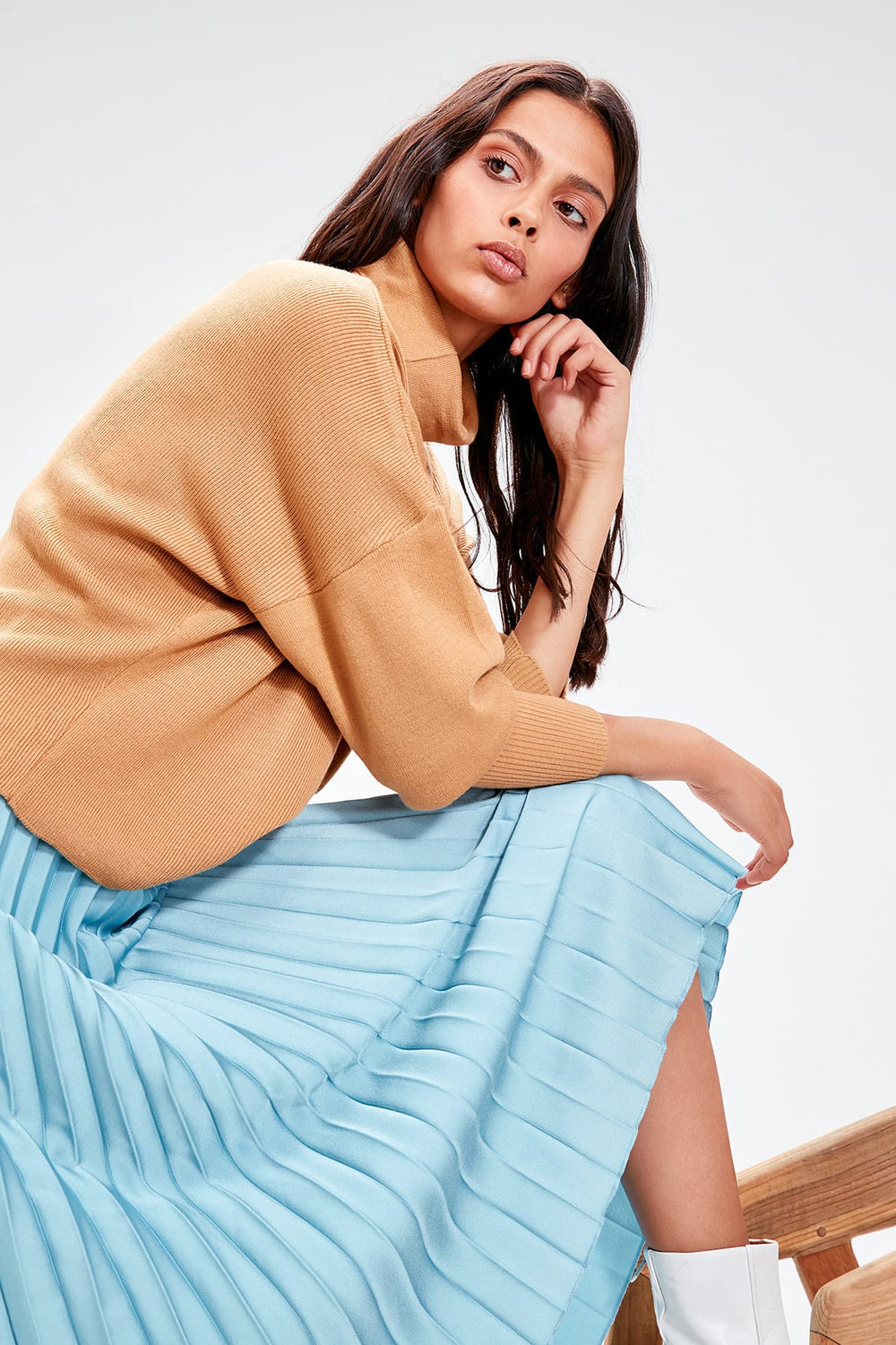Camel Turtleneck Sweater - Top Maxy