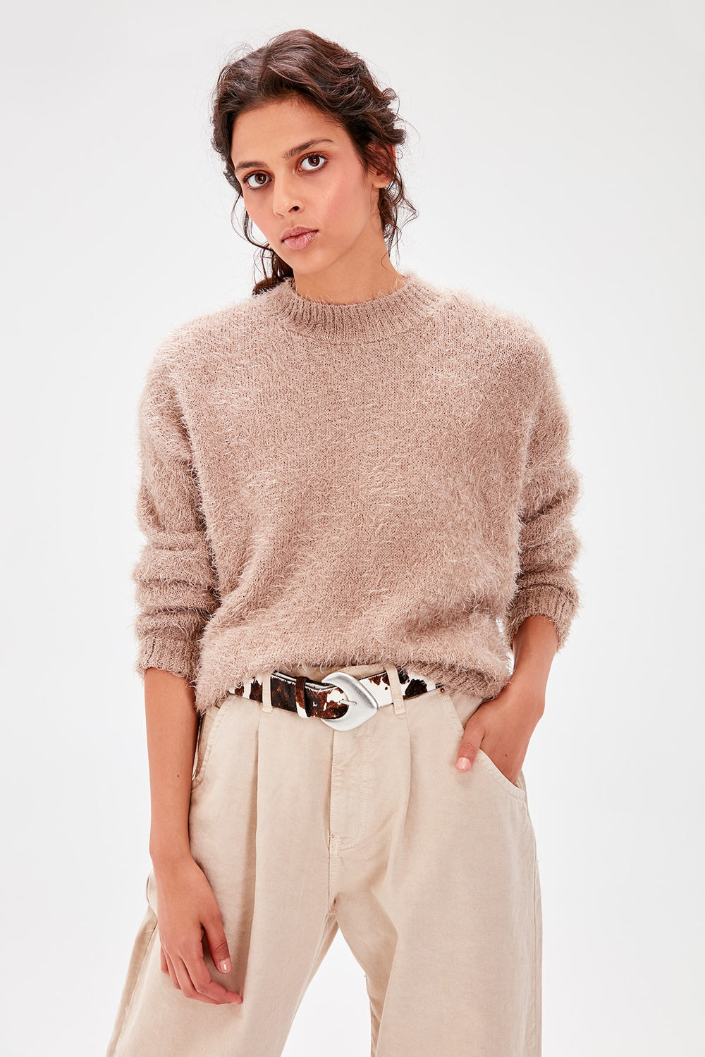 Stone Bicycle Neck Beard Yarn Sweater - Top Maxy