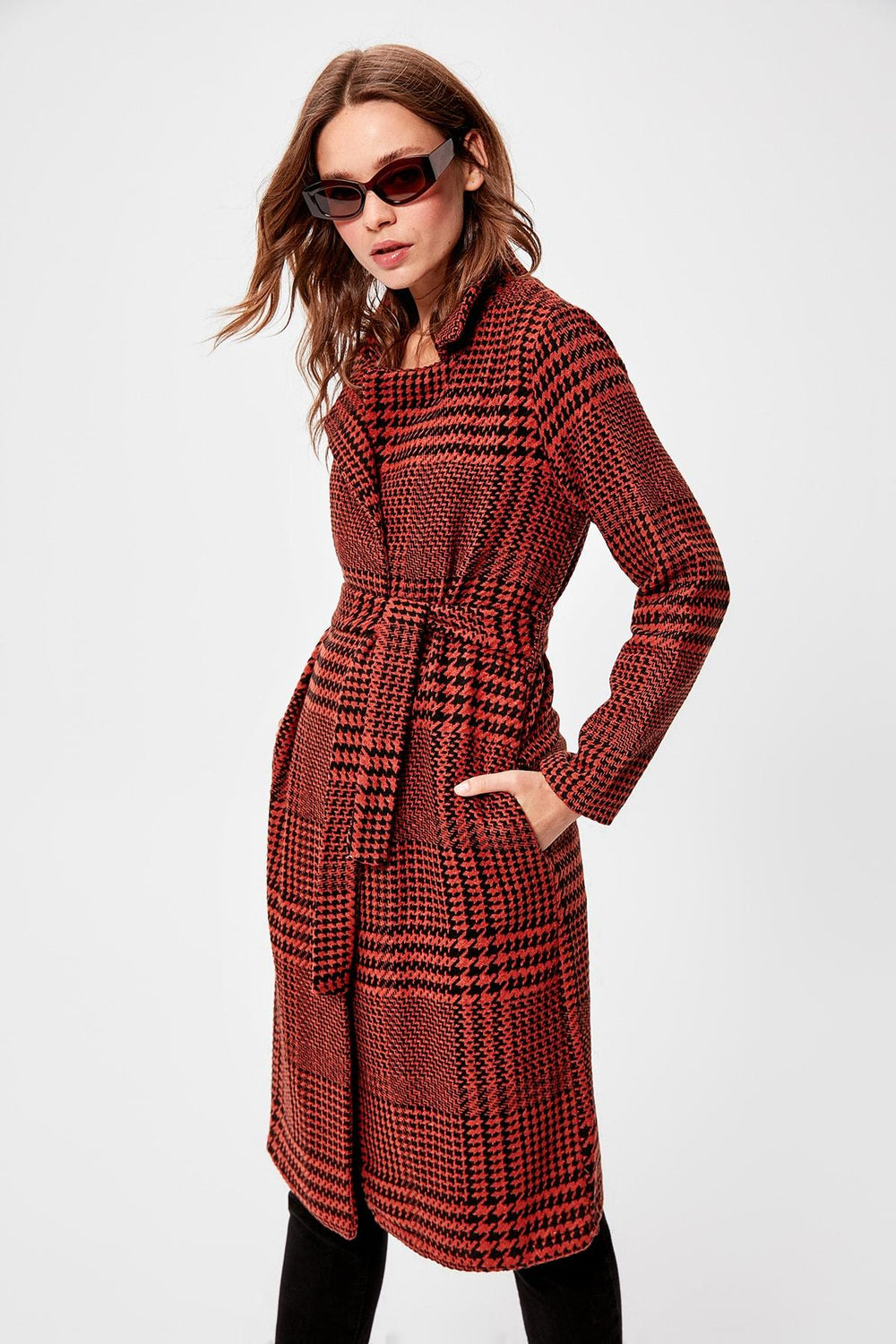 Cinnamon Arched Pattern Stamp Coat - Top Maxy